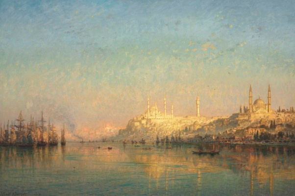 Karl Körner ernst karl eugen koerner german 1846 1927 view across the golden horn hagia and the