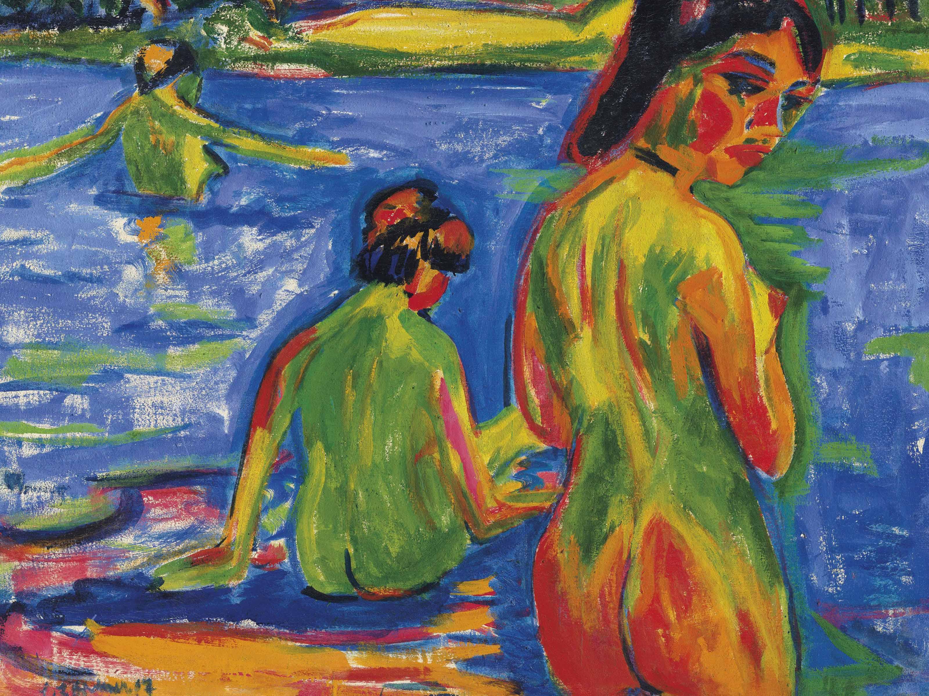 Im See badende Mädchen, Moritzburg