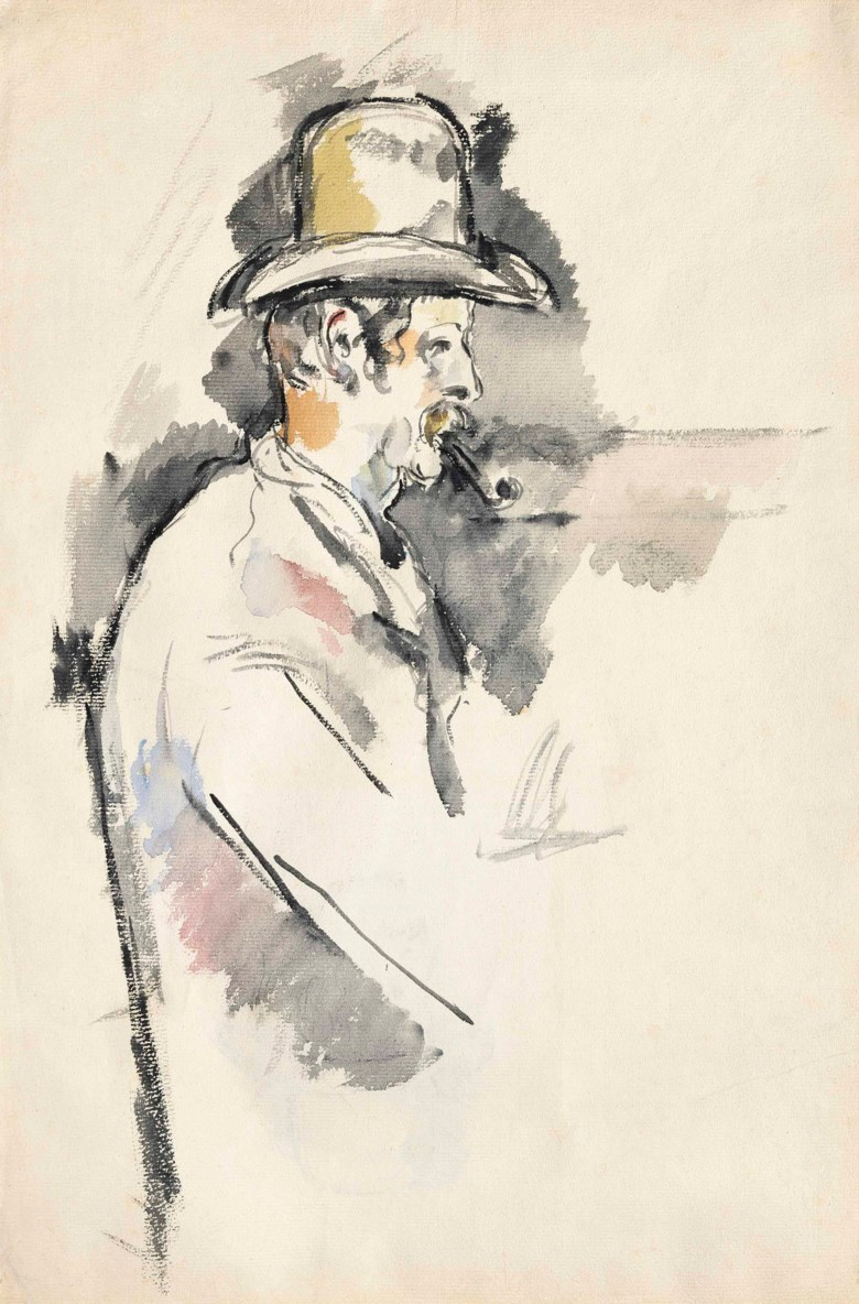 Paul Cézanne (1839-1906), Lhomme à la pipe (Étude pour un joueur de cartes) (recto); Père Alexandre (verso), painted in 1892-1896 (recto); drawn in 1890-1892 (verso). 19 x 12⅝  in (48.2 x 32  cm). Sold for $20,885,000 on 9 November 2015 at Christie's in New York