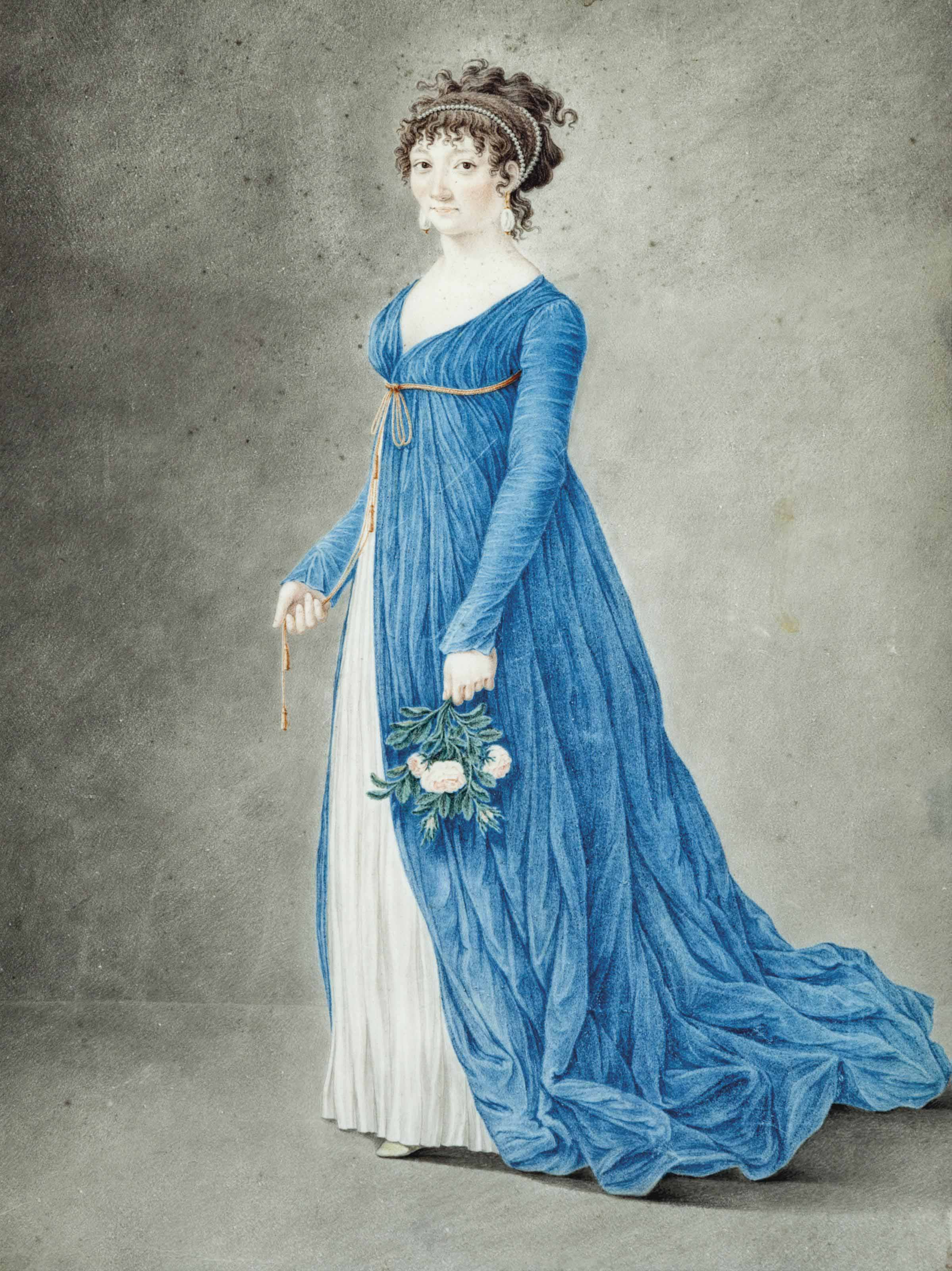A standing woman in a blue gown, holding roses in her left hand