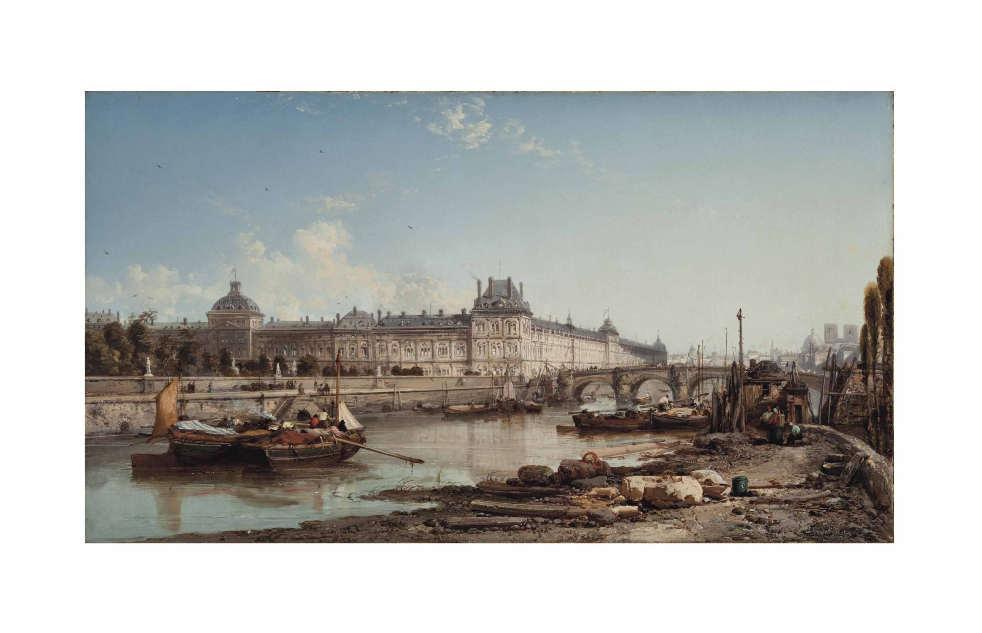 View of the Louvre from the bank of the Seine, Paris