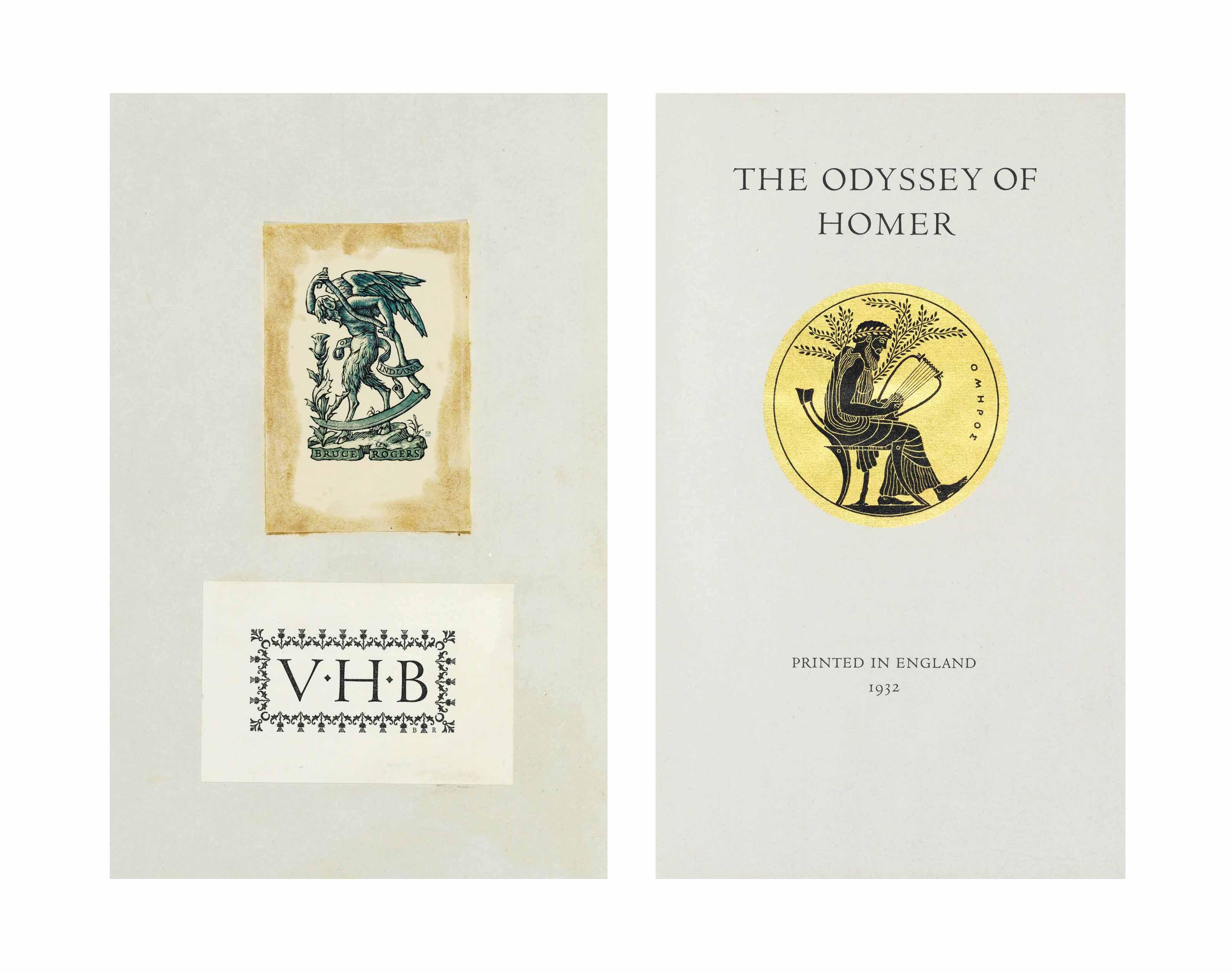 LAWRENCE, T. E., translator. – HOMER. The Odyssey of Homer. London: Sir Emery Walker, Wilfred Merton and Bruce Rogers, 1932.