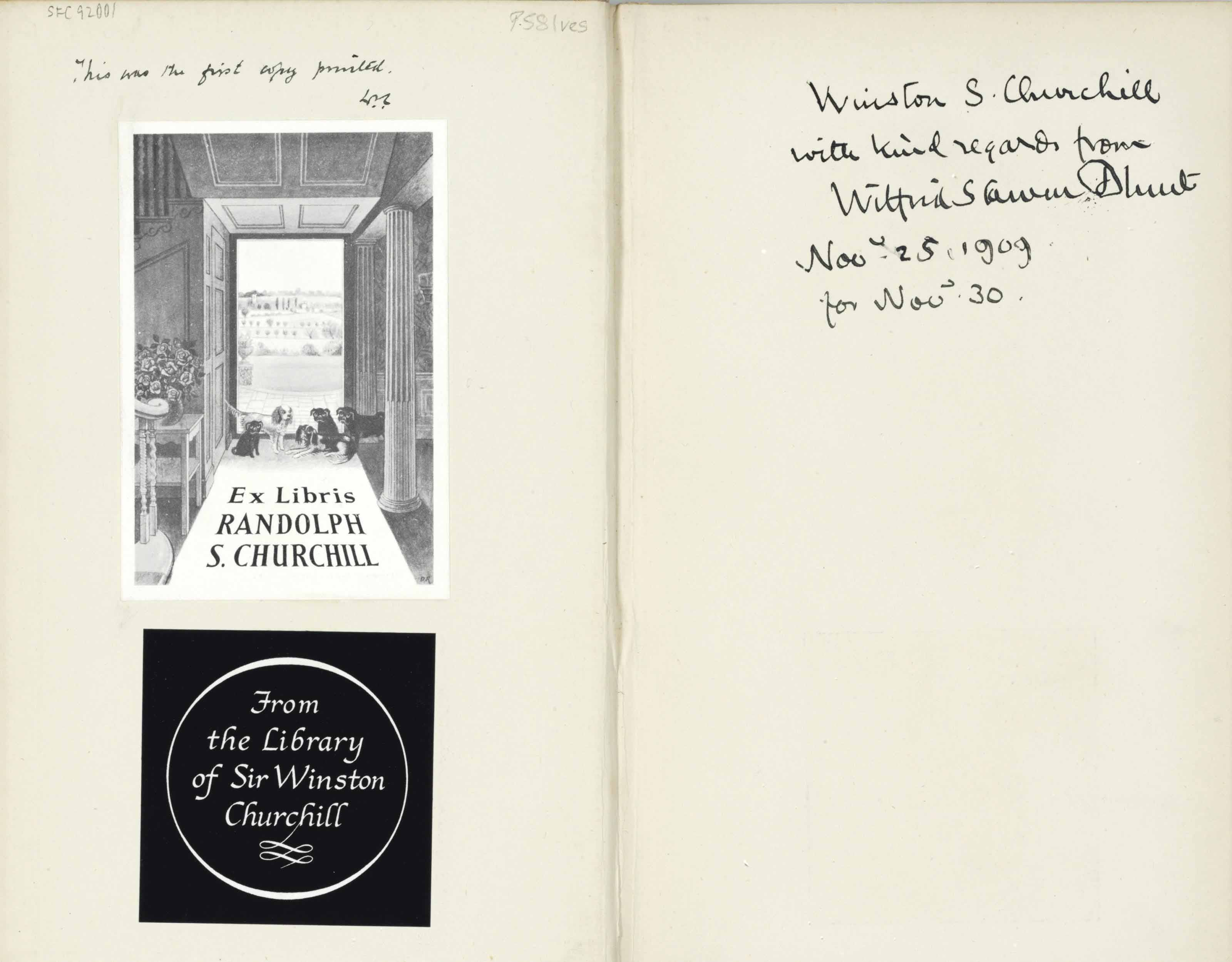 [CHURCHILL, Winston S., his copy]. BLUNT, Wilfrid S. India Under Ripon. London: T. Fisher Unwin, 1909.