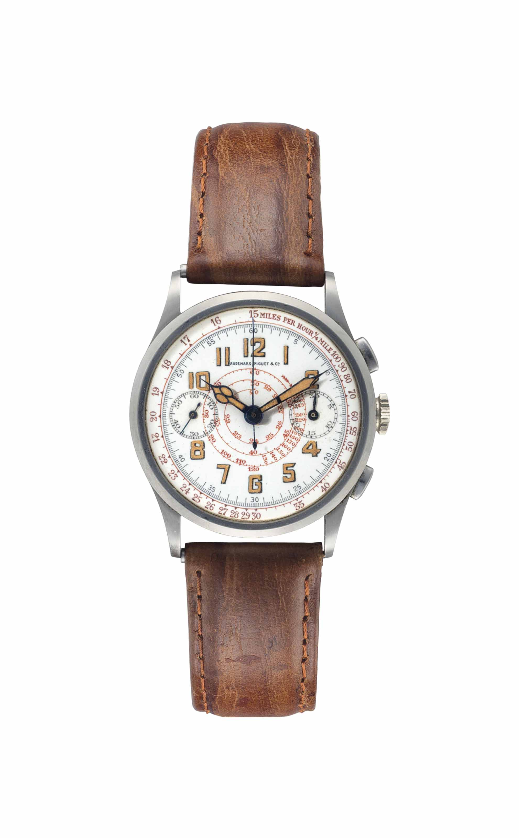 Audemars Piguet. An Extremely Rare Stainless Steel Chronograph Wristwatch with Central Spiraled Tachymeter Scale