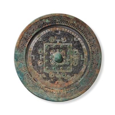 a large bronze 39 tlv 39 circular mirror china western han. Black Bedroom Furniture Sets. Home Design Ideas