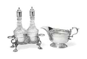 A GEORGE II SILVER AND CUT-GLASS BOTTLE CRUET AND A GEORGE I