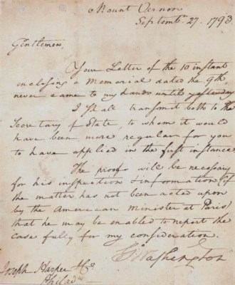 Washington George Letter Signed G O Washington As President To Joseph Harper Co