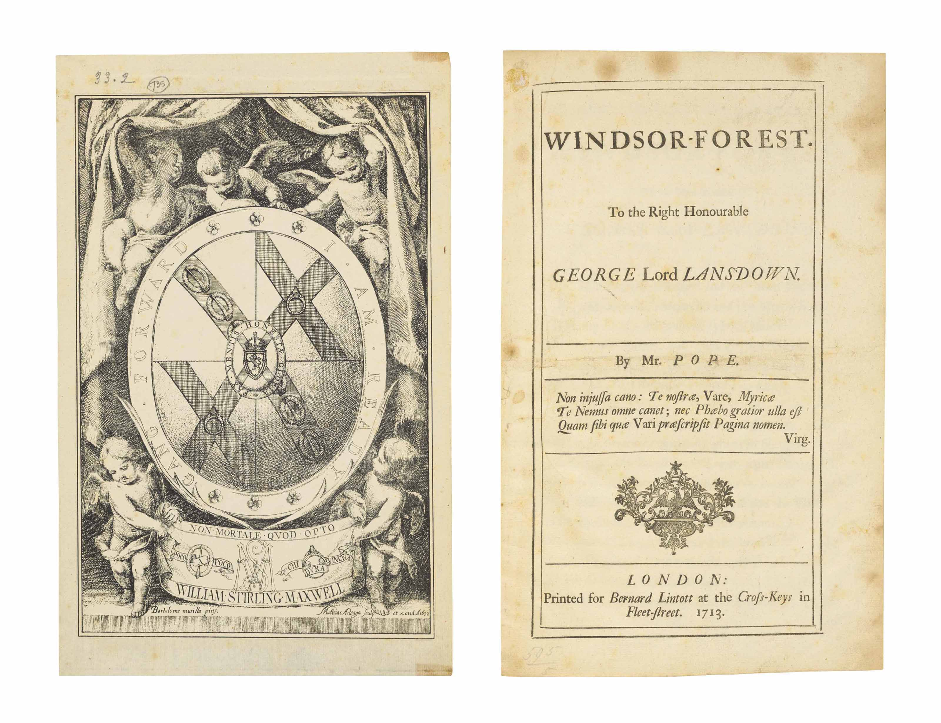 POPE, Alexander. Windsor-Forest. To the Right Honourable George Lord Lansdown. London: Bernard Lintott, 1713.
