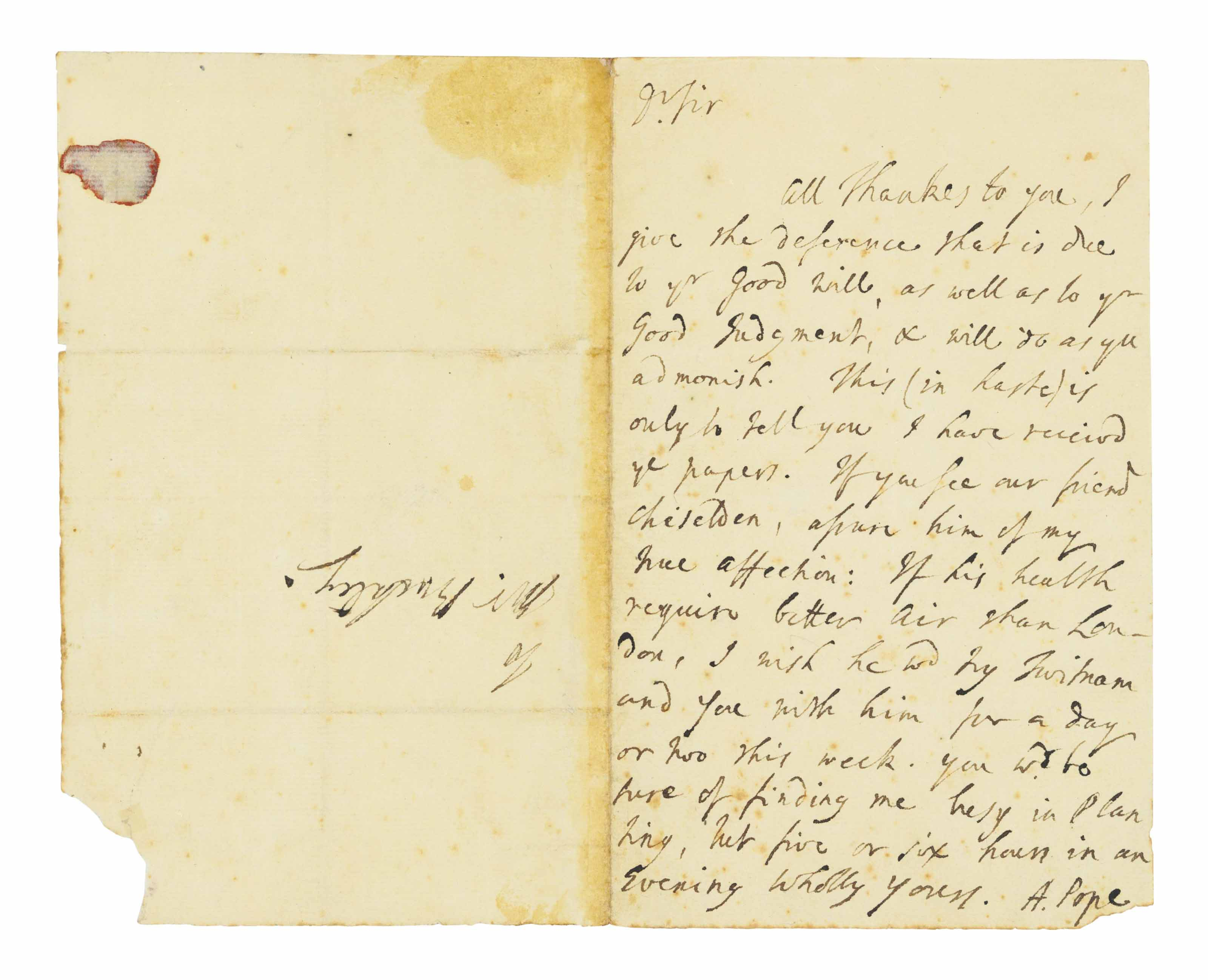 """POPE, Alexander. Autograph letter signed (""""A. Pope"""") to [Samuel] Buckley, [Twickenham, undated, but probably 1735 or later], one page, 8° (179 x 112mm), on a bifolium."""