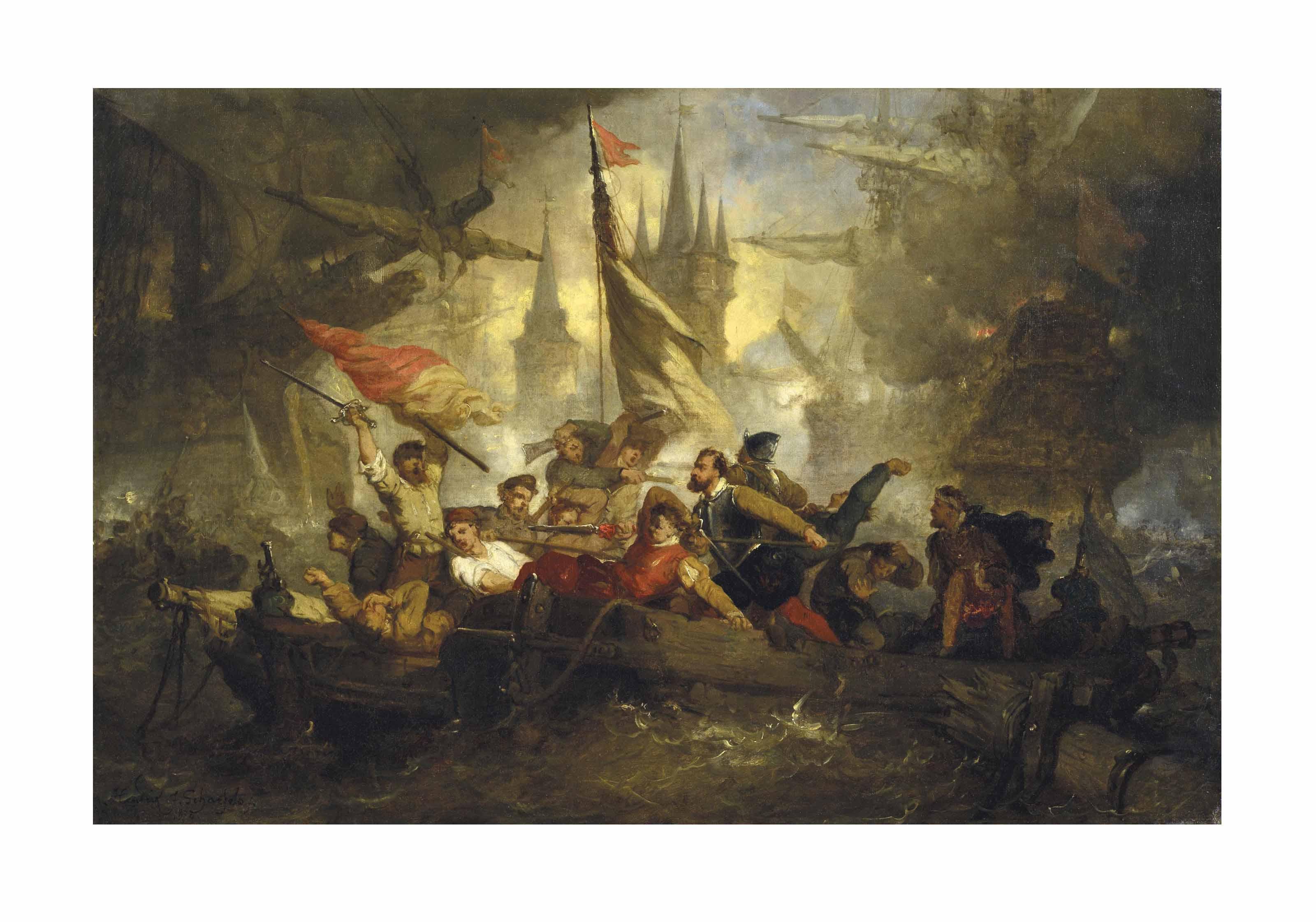 Scène de bataille navale