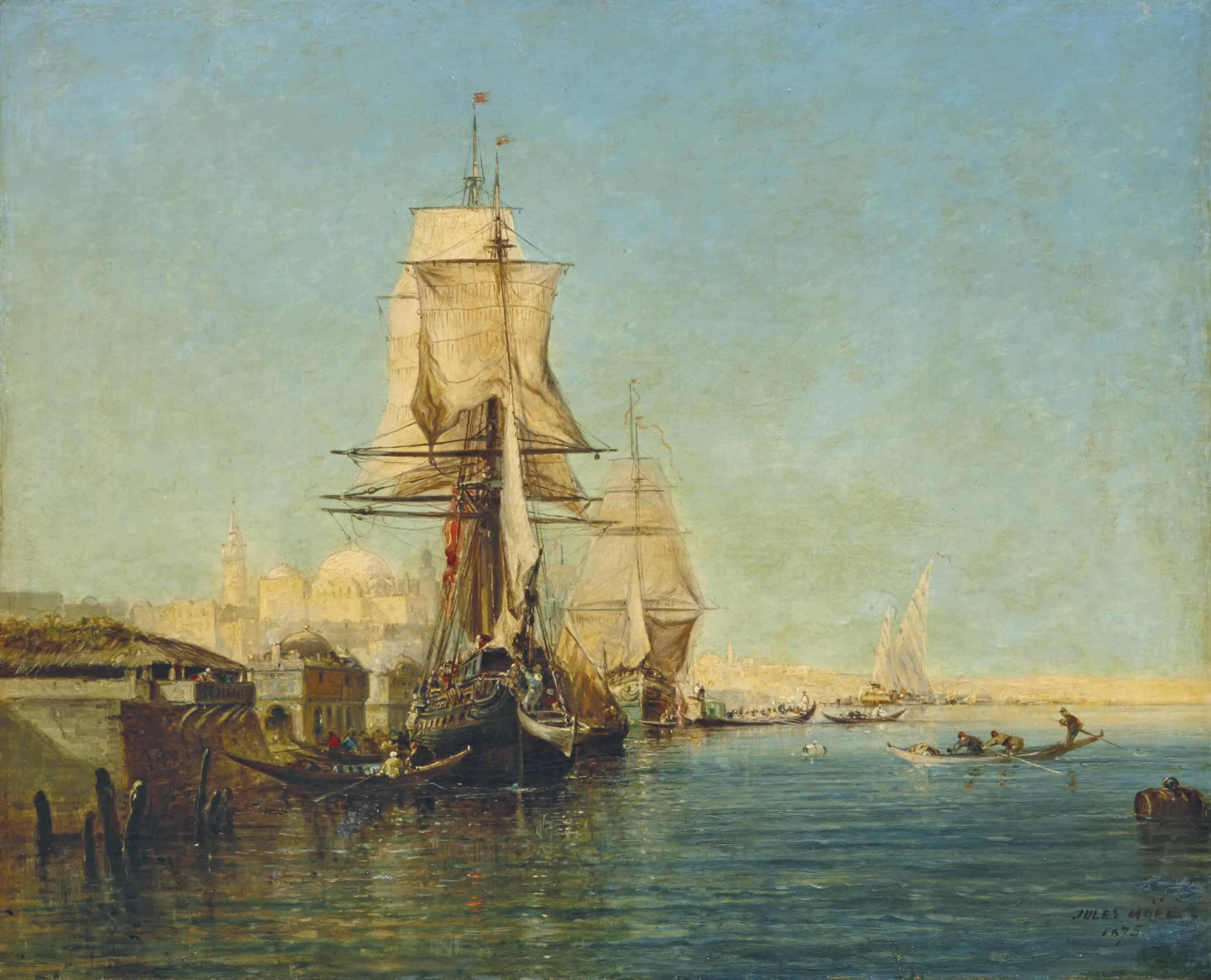 Les rives du Bosphore avec une vue présumée de Constantinople en arrière-plan