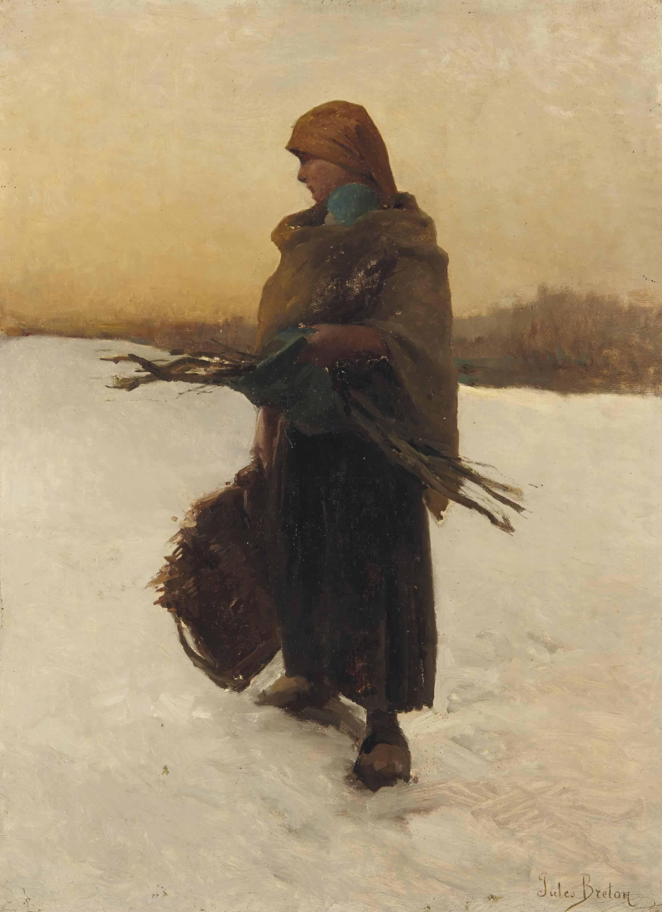 Ramasseuse de fagots et son enfant dans la neige