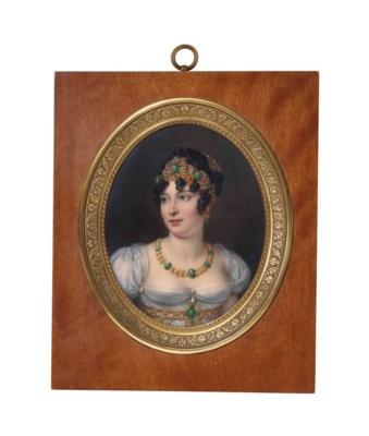 sophie li nard active 1842 1845 portrait de caroline bonaparte portant une robe blanche et. Black Bedroom Furniture Sets. Home Design Ideas