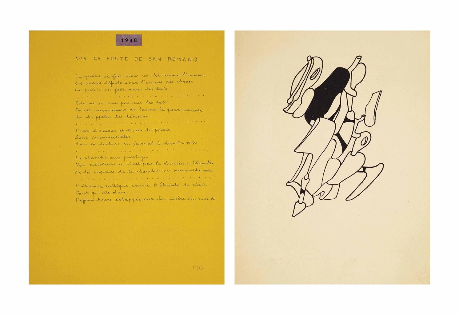 André BRETON (1896-1966) & Yves TANGUY (1900-1955). Volière. New York: Pierre Matisse, [1963]. In-4 (278 x 200 mm). Fac-similé selon le procédé de Daniel Jacomet, de textes de Breton avec étiquettes de dates collées. Reproductions de 9 dessins de Tanguy (dont quelques uns à pleine page) sur différents papiers Canson de couleurs. En feuilles, couverture anthracite rempliée, chemise et étui assortis.