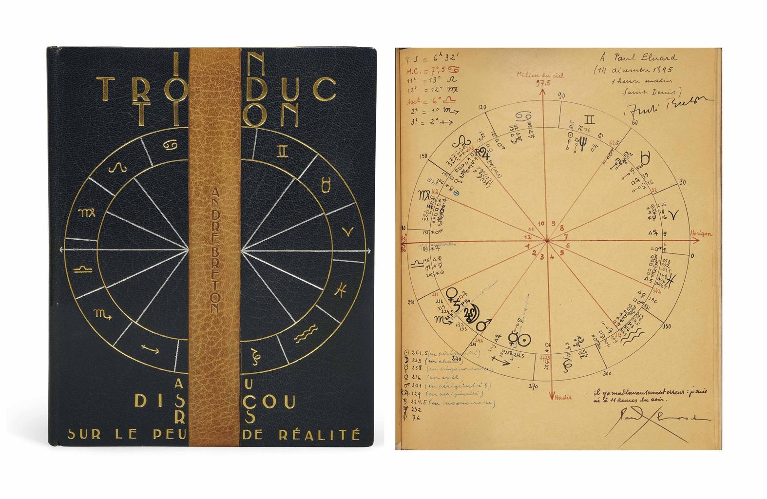 André BRETON (1896-1966). Introduction au discours sur le peu de réalité. Paris: NRF, 1927. In-4 (240 x 190 mm). Une page manuscrite reproduite en fac-similé. Reliure signée de Paul Bonet et datée 1931, maroquin bleu, plat supérieur orné du cercle zodiacal frappé à l'or et au palladium sur lequel passe une bande verticale de maroquin gold où se détache le nom de l'auteur frappé à froid, titre en lettres dorées en pied, plat inférieur orné d'une bande de papier marbré à reflets dorés flanquée de bandes de maroquin bleu, doublure et gardes de même papier marbré, chemise et étui assortis.