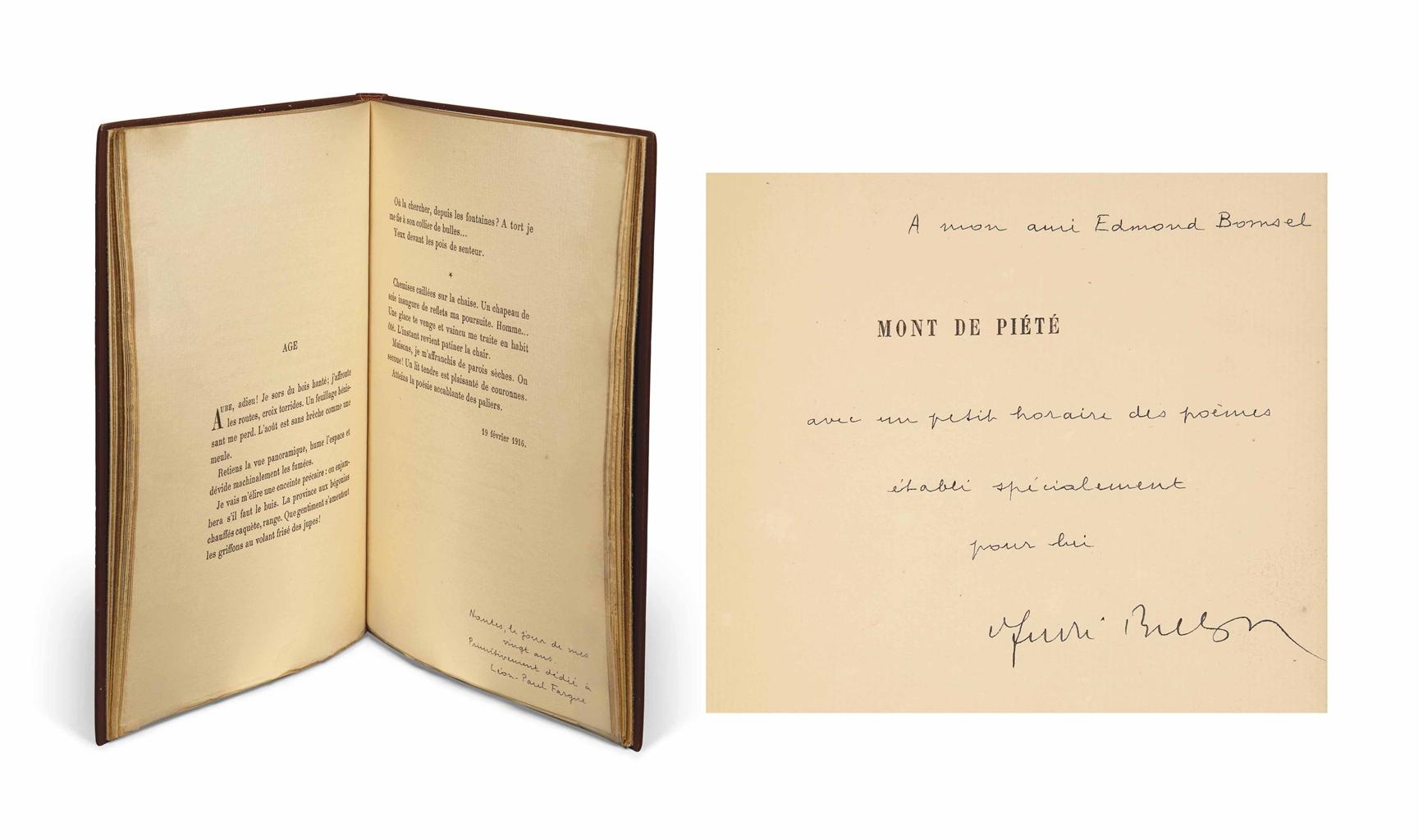 [DERAIN] -- André BRETON (1896-1966). Mont de piété (1913-1919). Paris: Au sans pareil, 10 juin 1919. In-8 (187 x 137 mm). Vignette de titre (reprise sur la couverture) et 2 dessins à pleine page d'André Derain. Reliure signée Leroux et datée 1973, maroquin noisette chagriné, dos lisse, doublure de box marron glacé, gardes de daim chamois, tranches dorées, couverture et dos, étui.