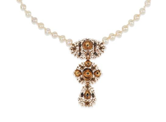 collier perles fines perles de culture et diamants. Black Bedroom Furniture Sets. Home Design Ideas