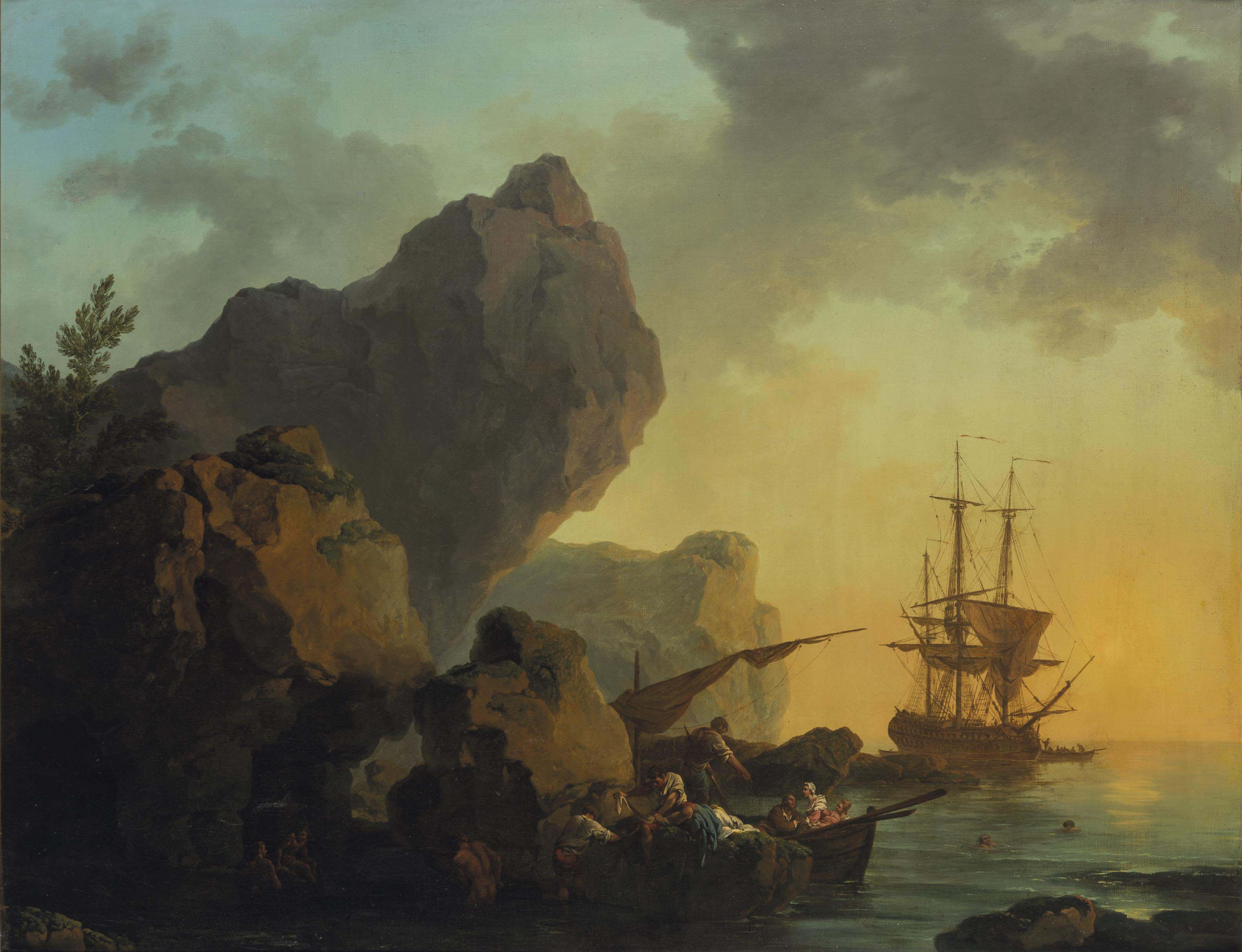 Une marine au soleil couchant