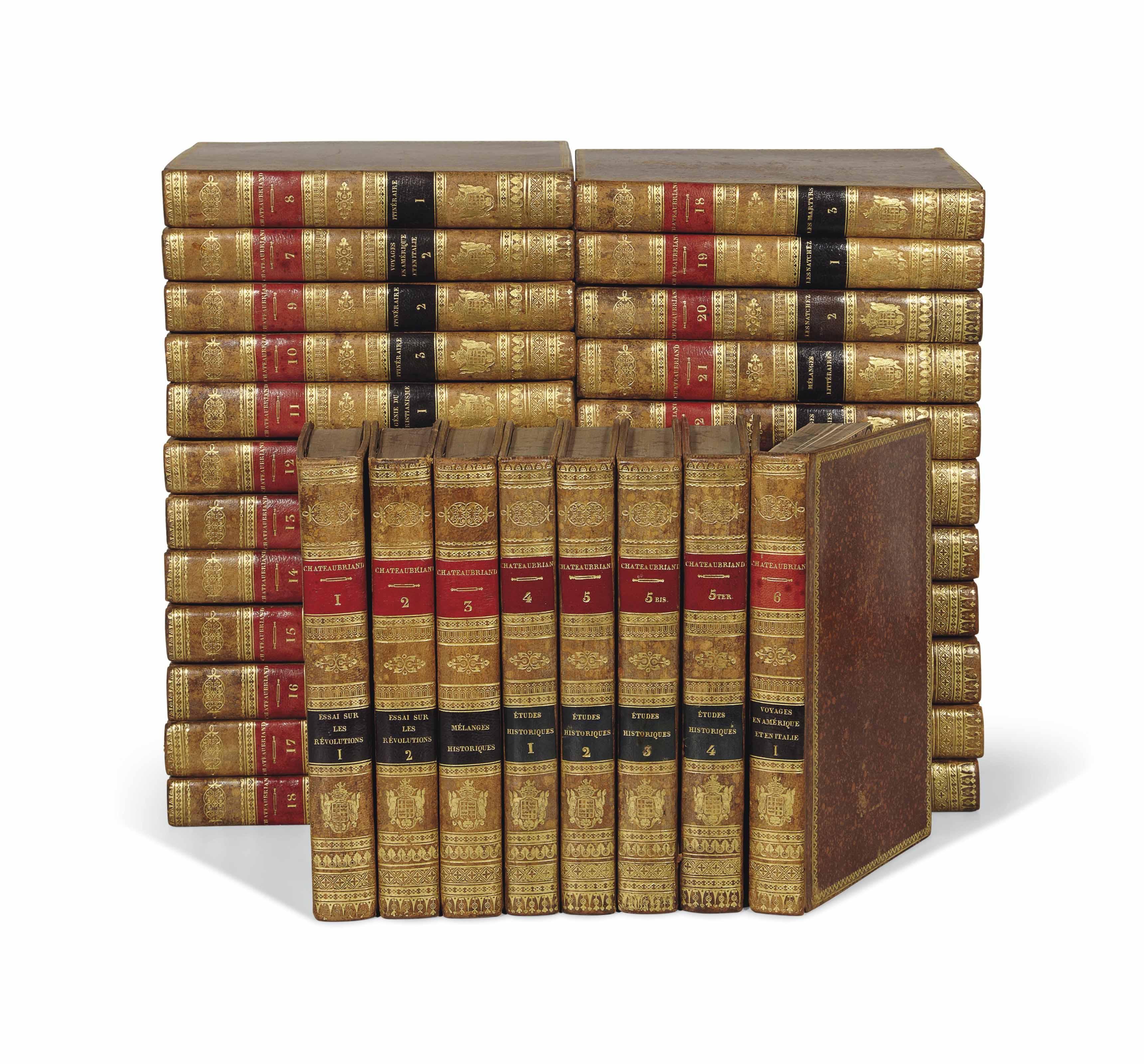 CHATEAUBRIAND, François-René de (1768-1848). Œuvres complètes. Paris : Ladvocat, 1826-1831. 31 volumes in-8 (201 x 122 mm). Un titre gravé par Thomson dans chaque volume. Basane mouchetée de l'époque, roulette dorée en encadrement, dos lisses joliment ornés avec armoiries dorées des marquis de Vérac (OHR 775, fer n° 3).