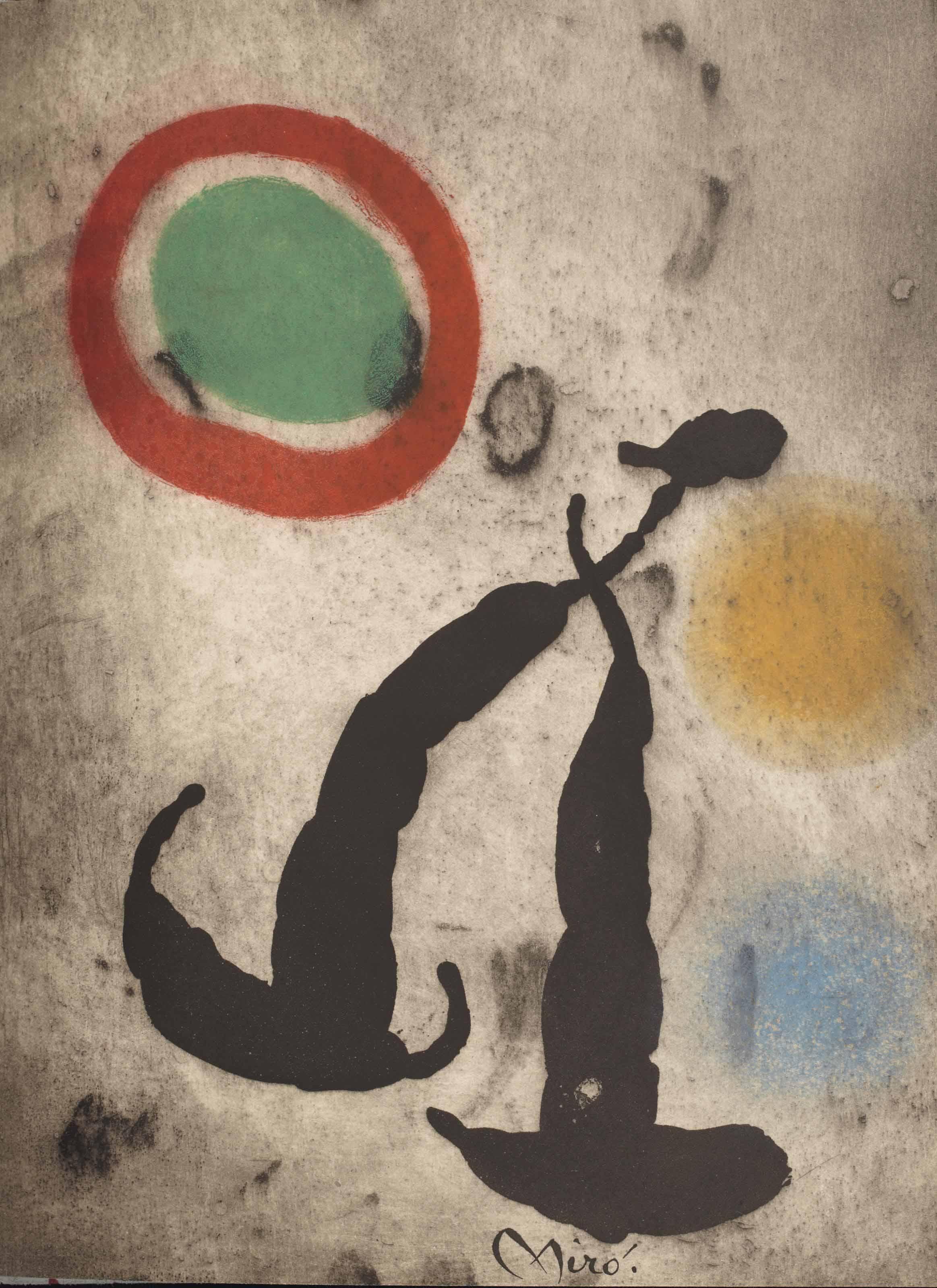 [MIRÓ, UBAC & LACHAUD] – Pierre-André BENOÎT, René CHAR, Jacques DUPIN, et d'autres. 13 mai 1962. [Alès : PAB, 1962]. In-4 (279 x 222 mm). Une eau-forte et aquatinte originale signée de Joan Miró imprimée en couleurs ; une gravure originale en noir signée de Raoul Ubac ; une photographie originale de Mariette Lachaud représentant Georges Braque. Reliure signée Leroux au contreplat et datée 1994, daim gris clair orné de taches rouges, dos lisse avec le titre en long et une pastille de veau rouge mosaïquée, étui.