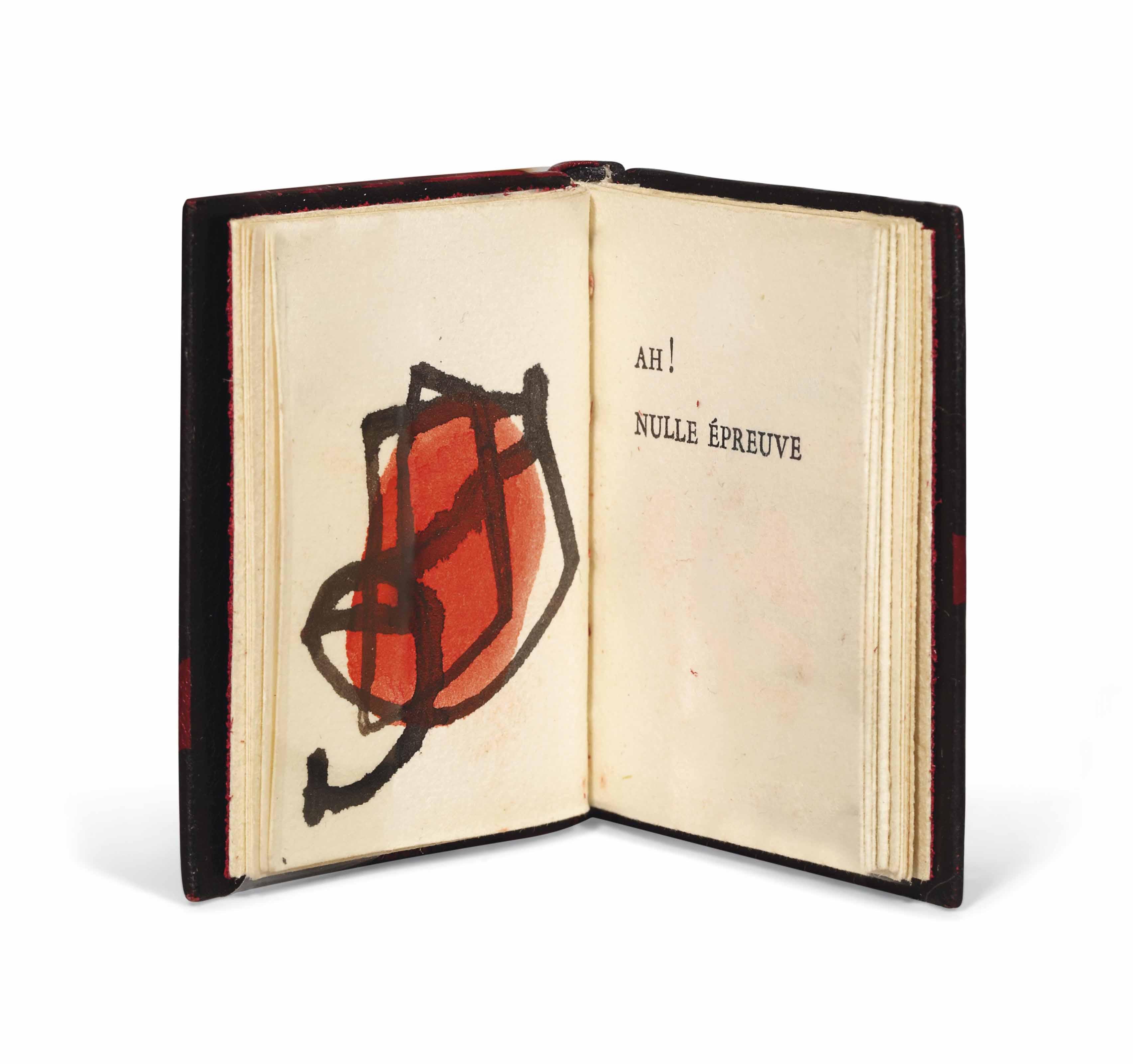 [MIRÓ] – Pierre-André BENOÎT (1921-1993). Ah ! nulle épreuve. Sans lieu ni nom [Alès : PAB], 1958 « en souvenir du 25 avril ». Minuscule (43 x 34 mm), une feuille pliée en accordéon. Une gouache originale en couleur de Joan Miró, non signée. Reliure signée Leroux au contreplat et datée 1988, peau de buffle (?) ébène, plats ornés d'un décor mosaïqué de maroquin rouge passant sur le dos lisse, doublure de box noir et gardes de daim rouge, couverture, chemise et étui assortis. L'exemplaire n'a pas été coupé pour rester fidèle à la publication en accordéon.