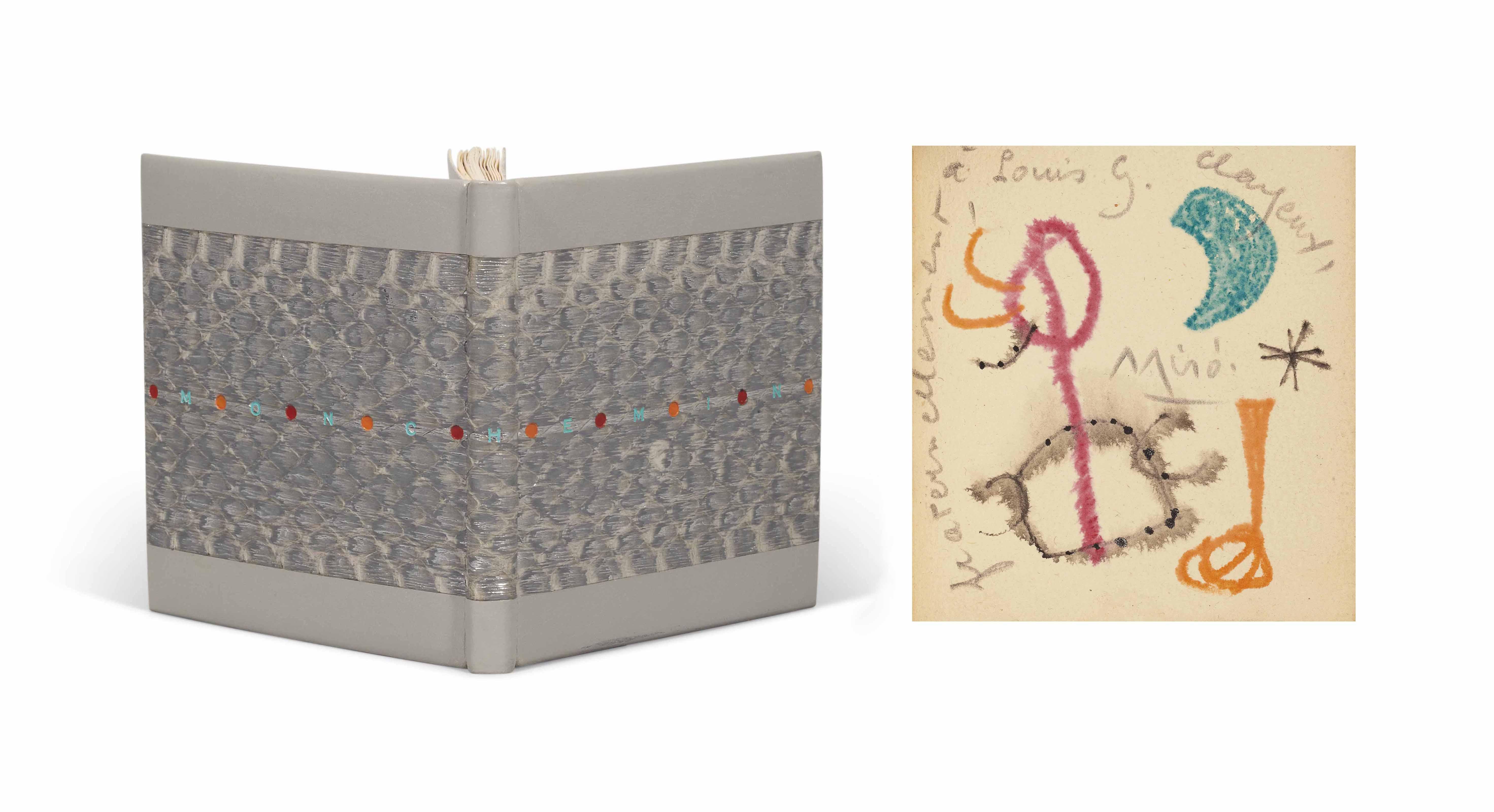 [MIRÓ] – Pierre-André BENOÎT (1921-1993). Mon chemin. Alès : [PAB], noël 1953. Petit in-16 carré (89 x 82 mm). Une pointe-sèche originale sur celluloïd signée de Joan Miró. Reliure signée Leroux au contreplat et datée 1991, box gris clair, grande pièce rectangulaire passant sur le dos en veau estampé façon serpent et argenté, titre à l'oeser vert courant sur les deux plats, pastille à l'oeser rouge ou orange entre chaque lettre, dos lisse, doublure de même box et gardes de daim gris, couverture, chemise et étui assortis.