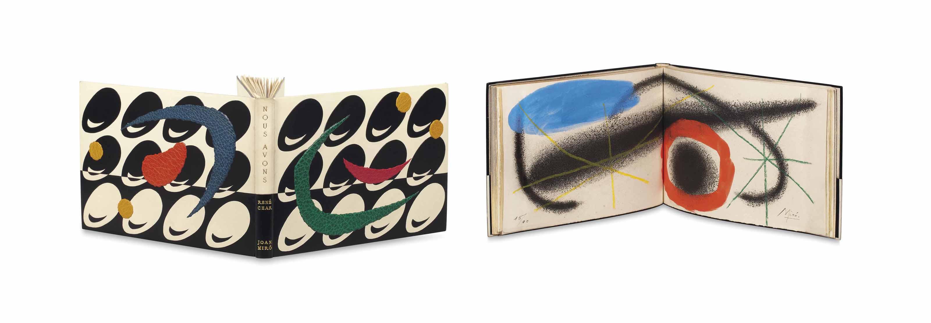 [MIRÓ] – René CHAR (1907-1988). Nous avons. Paris : Louis Broder, mai 1959. In-8 oblong (130 x 203 mm). 5 eaux-fortes originales avec aquatinte imprimées en couleur et rehaussées à la main par Joan Miró. Reliure signée Paul Bonet au contreplat et datée 1962, entièrement monté sur onglets, décor mosaïqué passant sur le dos de box noir et blanc séparés horizontalement, sur chaque plat 12 ovales de box mosaïqué inclinés vers la droite, sur le tout mosaïque de diverses pièces de maroquin épais de couleur vert, rouge, bleu, orange et moutarde, dos lisse, doublure et gardes de daim noir et blanc avec très fin listel de box contrastant en encadrement, tranches dorées, chemise et étui assortis (sans la couverture avec un bois original).