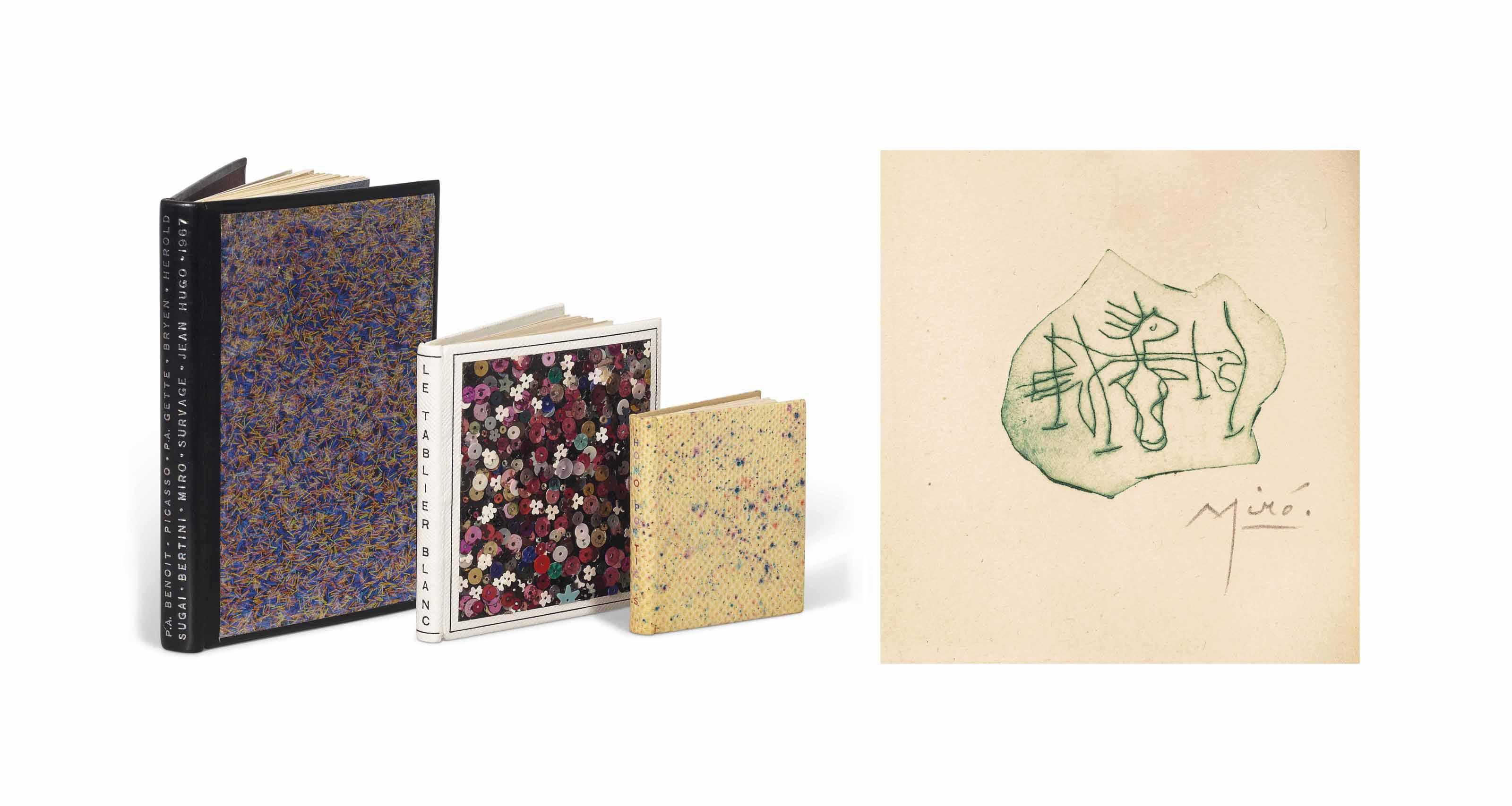 [MIRÓ] – Lise DEHARME (1898-1980). Le Tablier blanc. Alès : PAB, février 1958. Petit in-16 carré (81 x 75 mm). Une gravure originale de Joan Miró sur linoleum, tirée en noir et non signée. Reliure signée Leroux au contreplat et datée 1987, veau blanc estampé à froid d'un fin quadrillage, plats recouverts de sequins à coudre de différentes couleurs, dos lisse, doublure et gardes de box blanc, couverture, chemise et étui assortis.