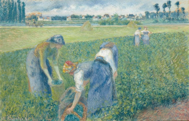 Camille Pissarro (1830-1903), Paysannes travaillant dans les champs, Pontoise, executed in 1881. Gouache and pencil on paper. 32.2 x 49.7  cm. Sold for €1,381,500 on 25 March 2015  at Christie's in Paris