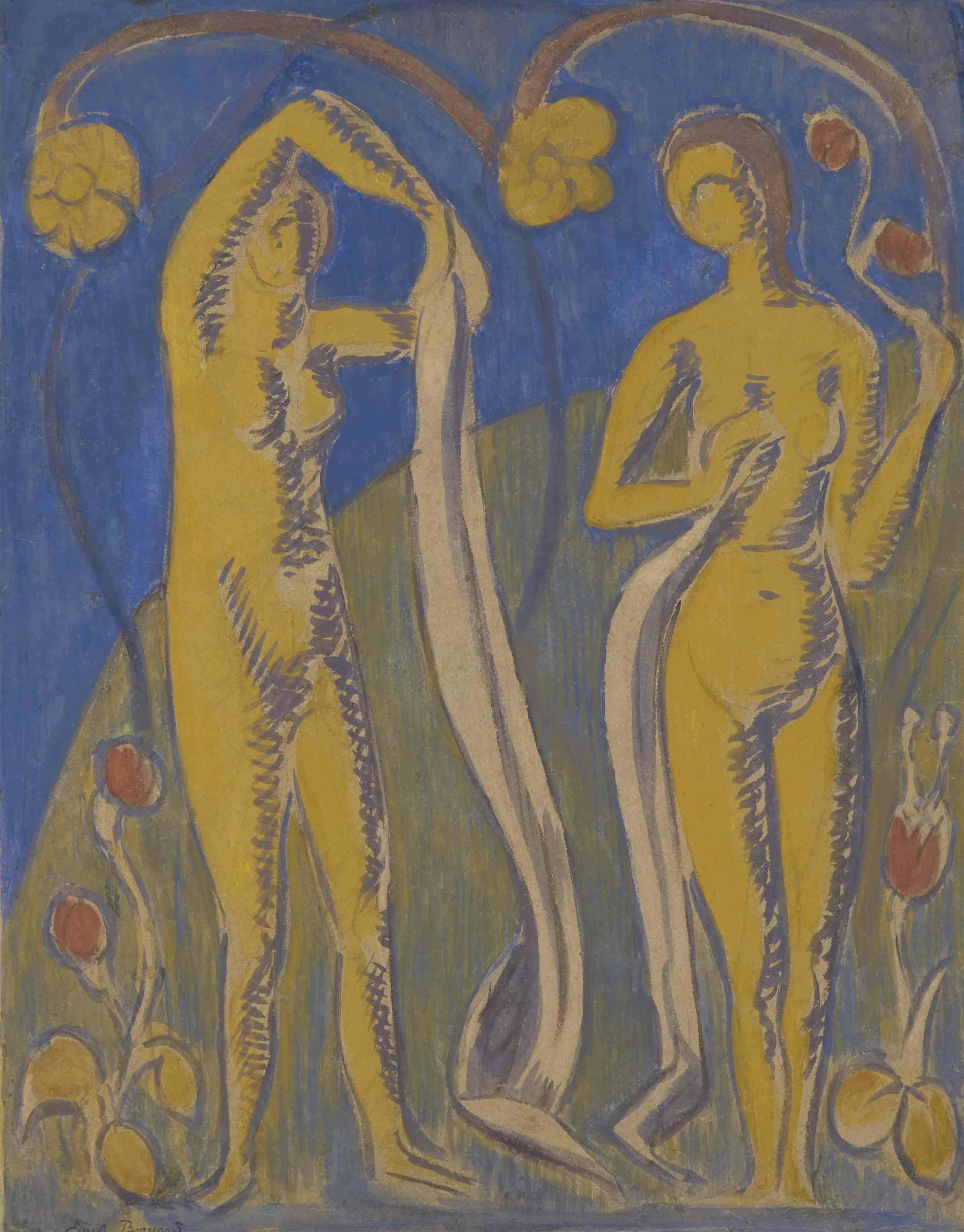 Femmes nues sur fonds bleus