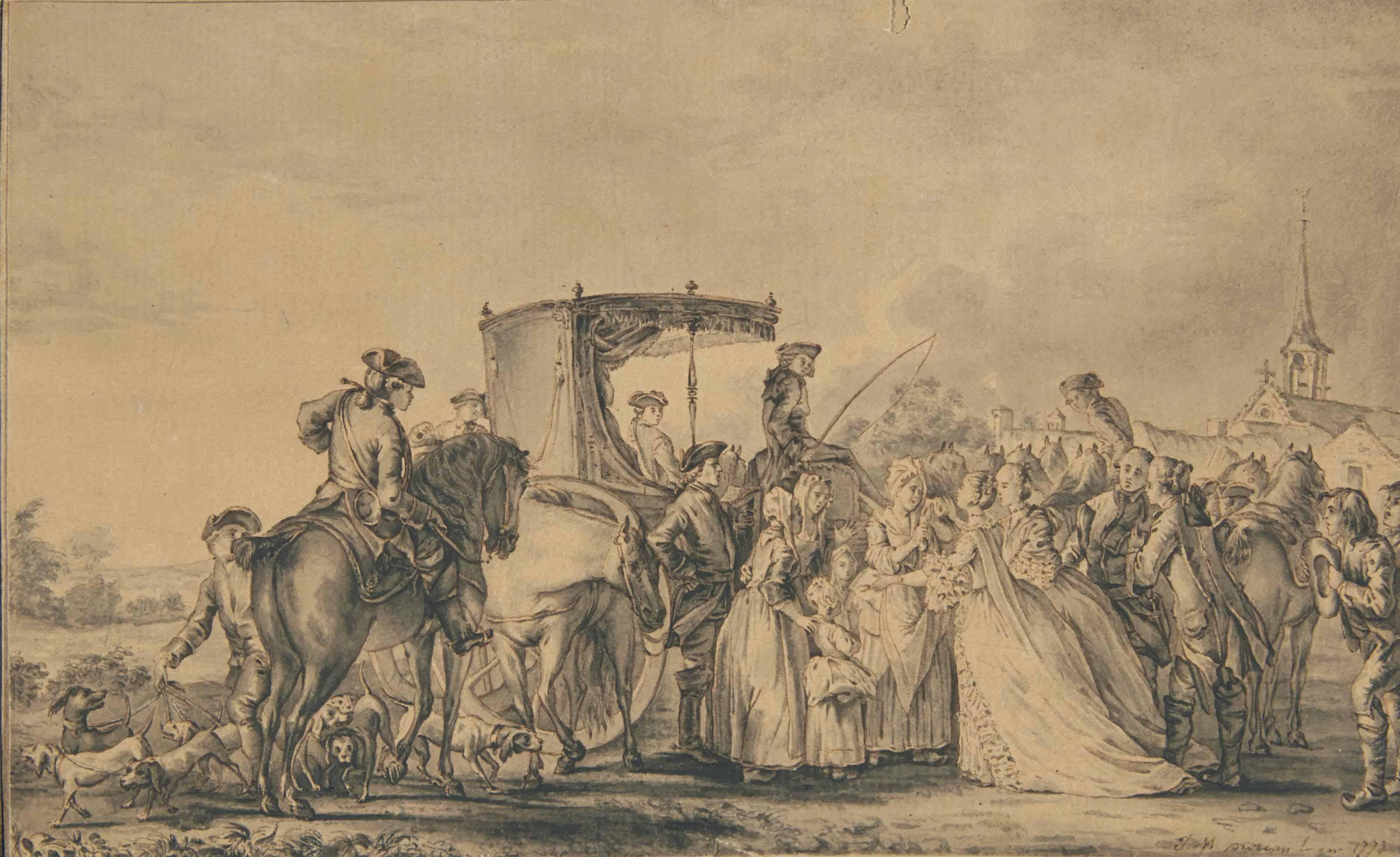 Marie-Antoinette, sortie de sa calèche et entourée de son cortège, consolant une paysane