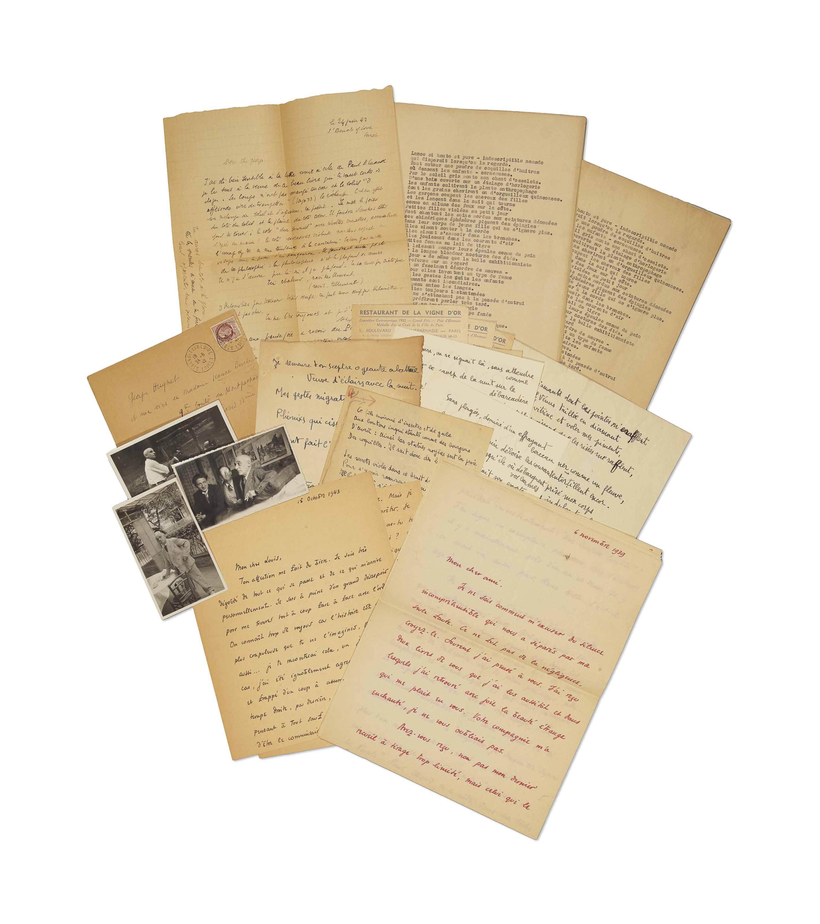 Max Jacob (1876-1944). 2 lettres autographes signées à Georges Hugnet, écrites de Saint-Benoît sur Loire.