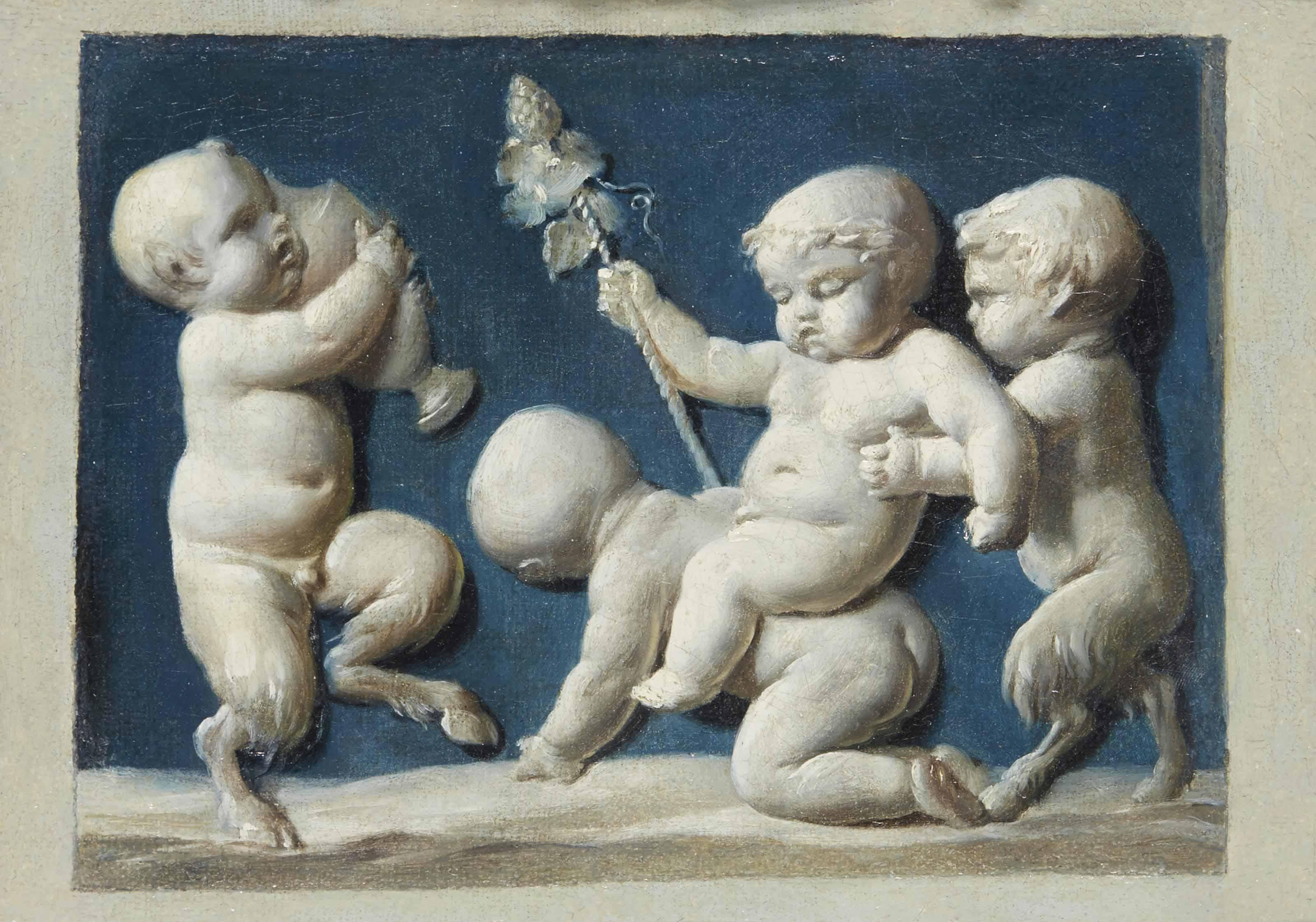 Trompe l'oeil avec Bacchus enfant et des satyres ivres