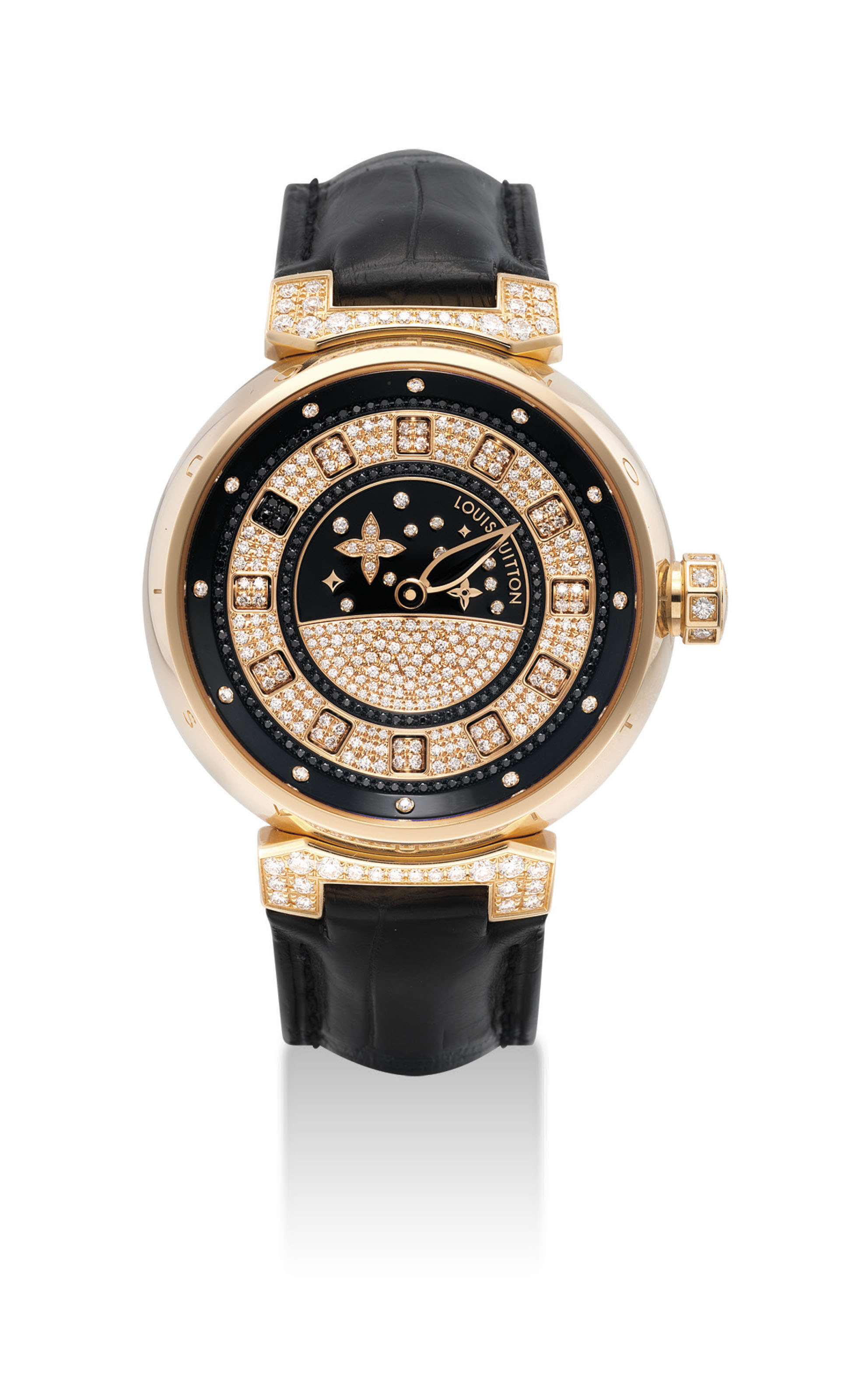 LOUIS VUITTON. A FINE 18K PINK GOLD, DIAMOND AND BLACK DIAMOND-SET AUTOMATIC WRISTWATCH WITH ROTATING CUBE HOUR DISPLAY