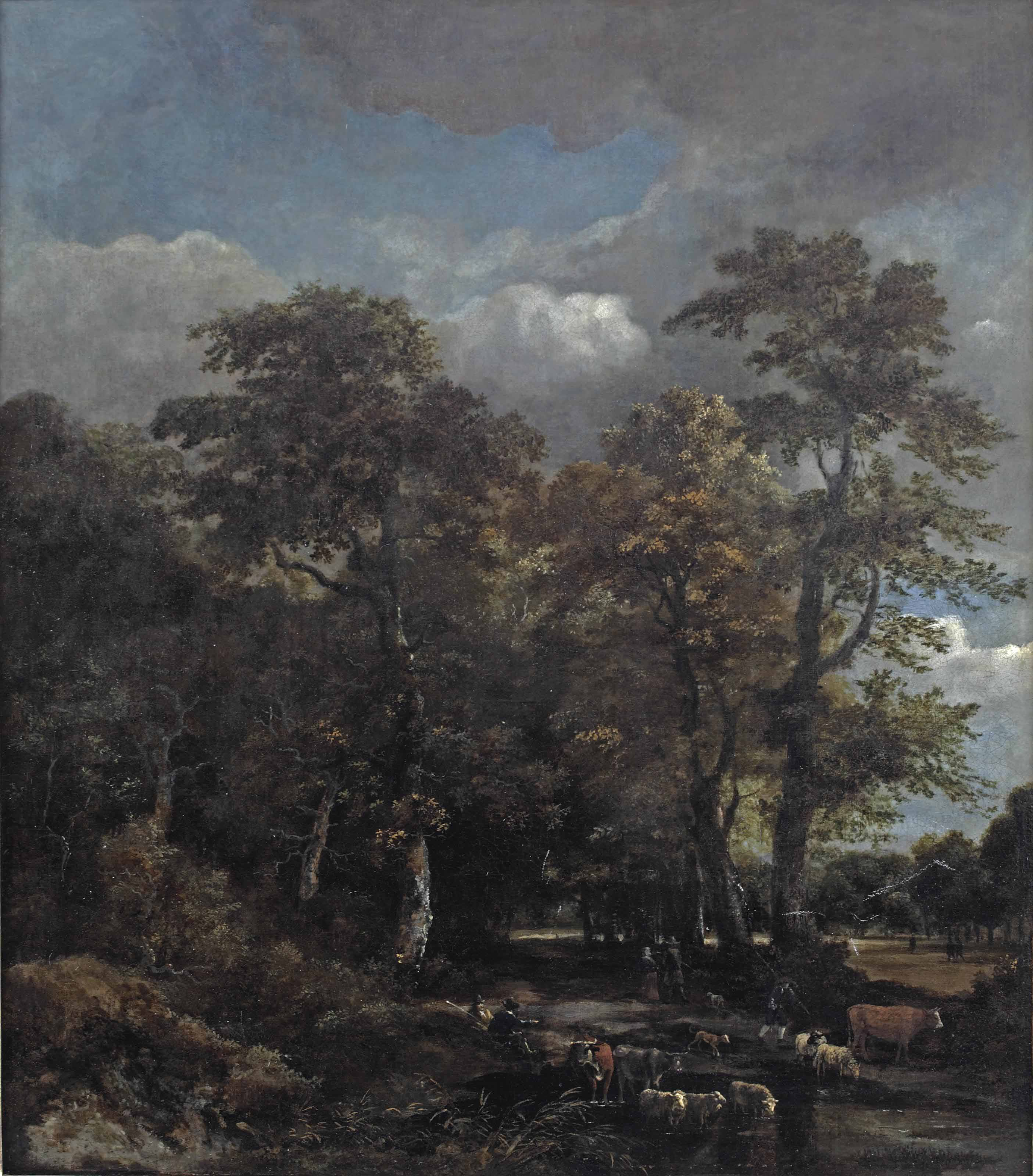 A wooded landscape with cattle crossing a stream