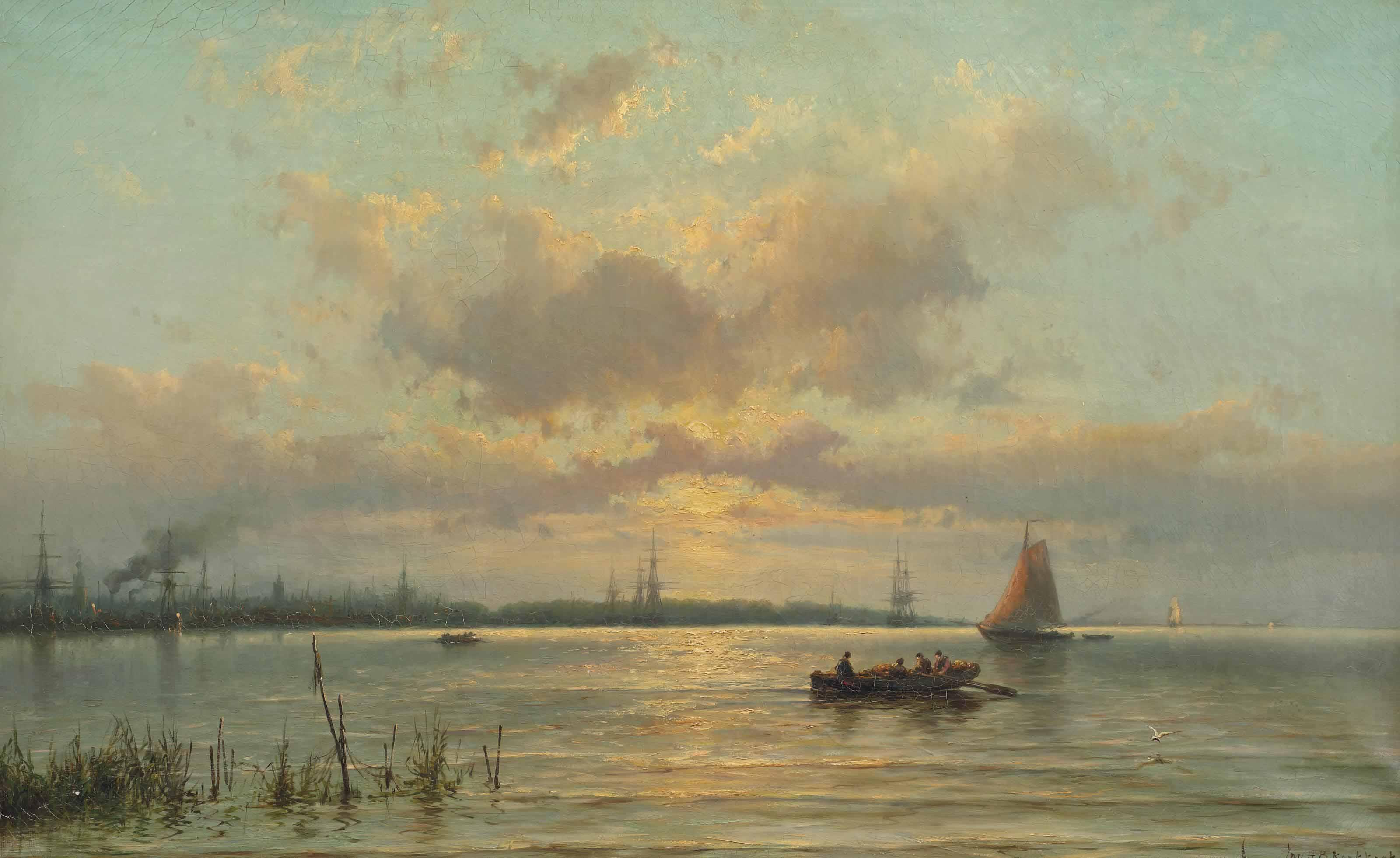Gezigt op de Maas voor Rotterdam bij ondergaande zon: ships on the river Maas at sunset, Rotterdam