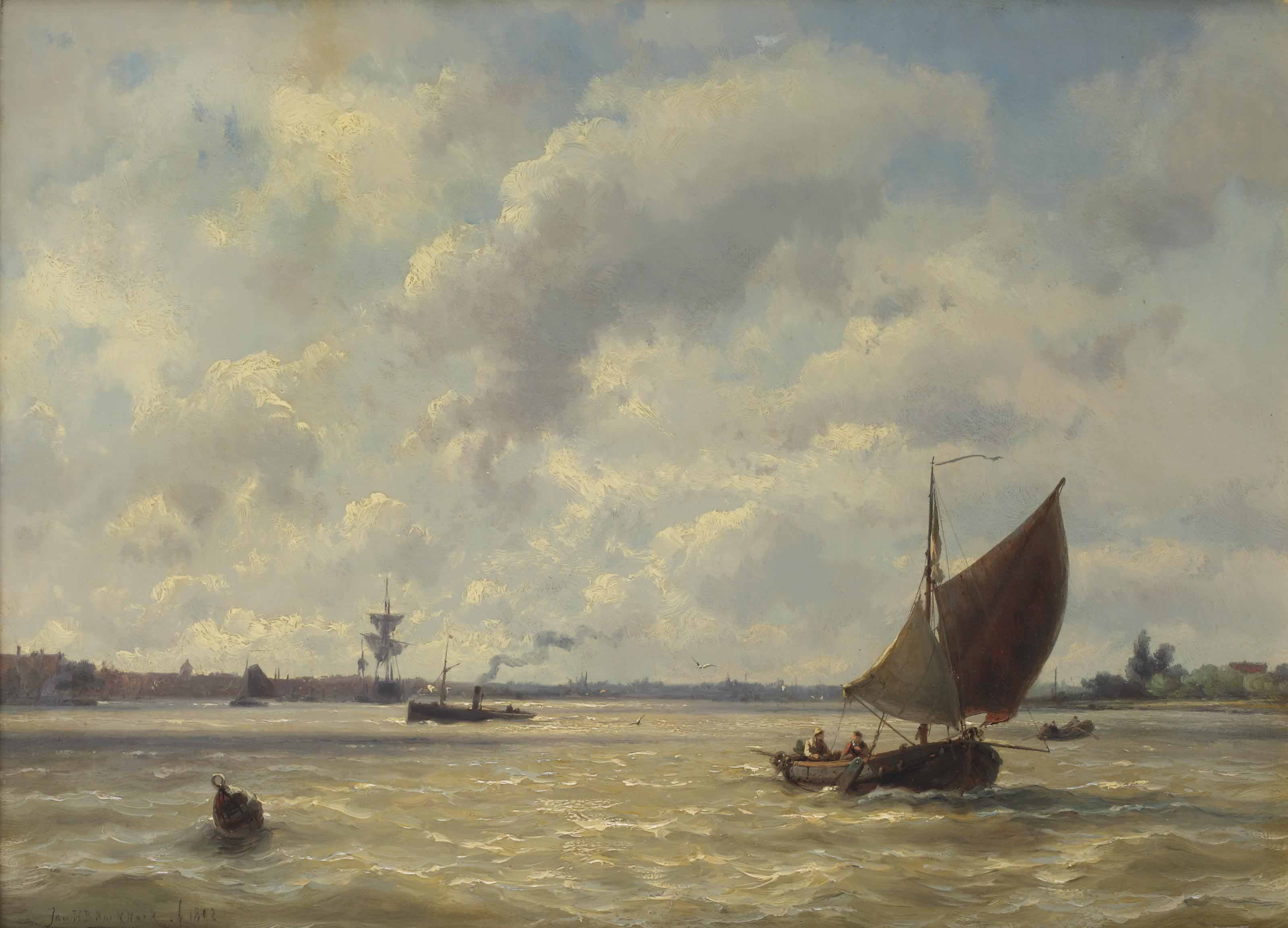 A capriccio view with ships on the Nieuwe Maas, Rotterdam