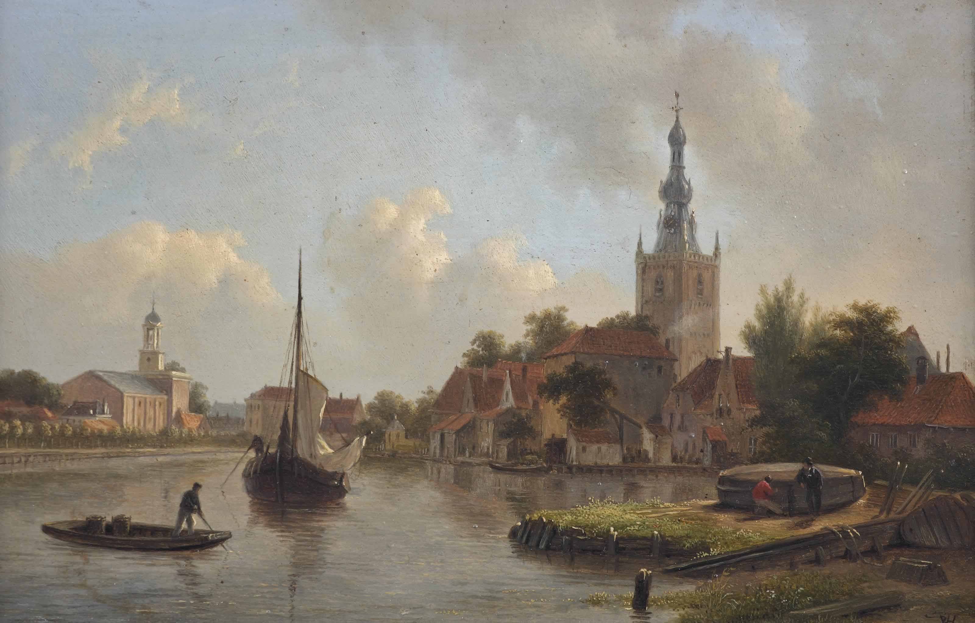 Overschie: figures repairing a boat along the river by Overschie
