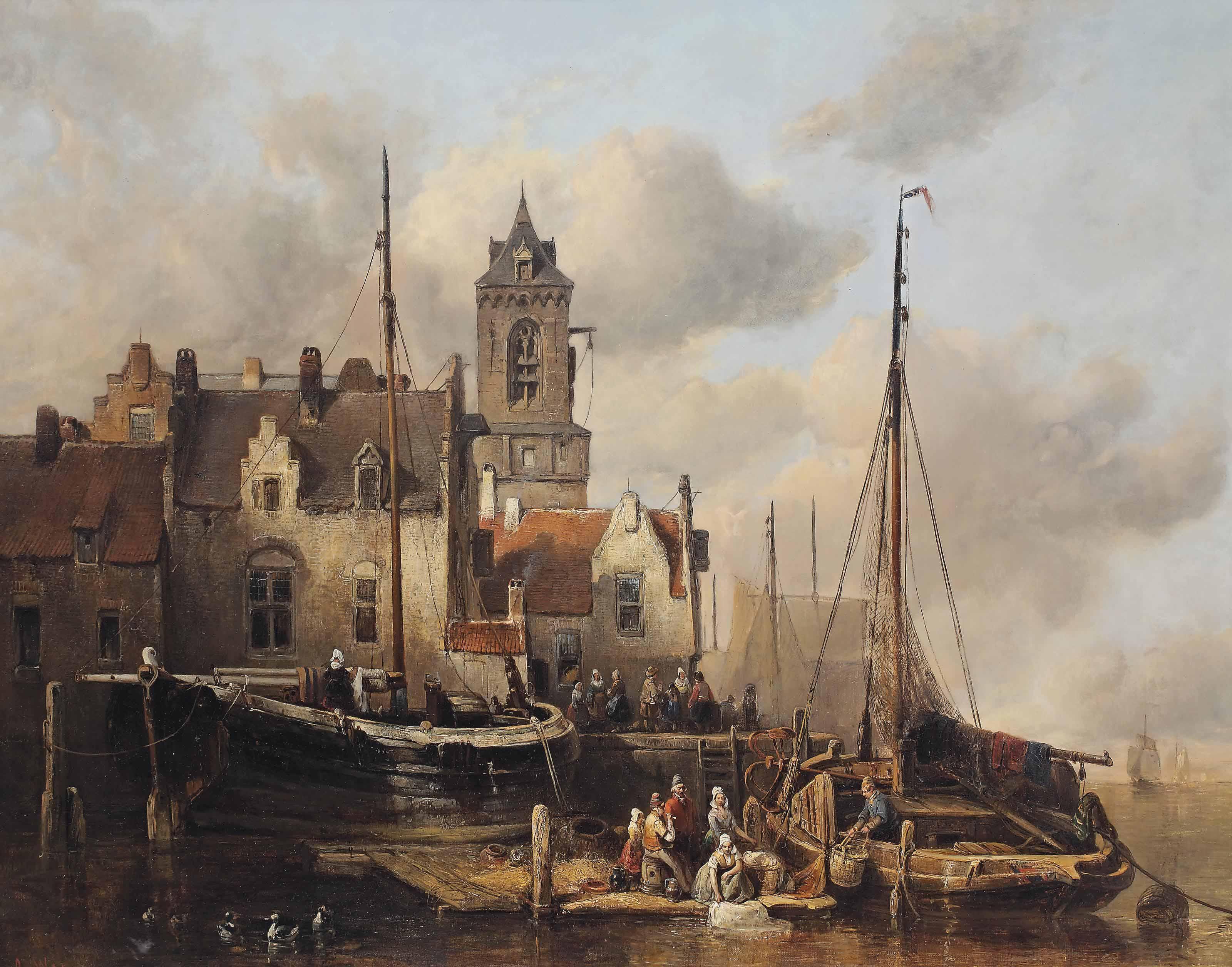 A busy quay in a Dutch town