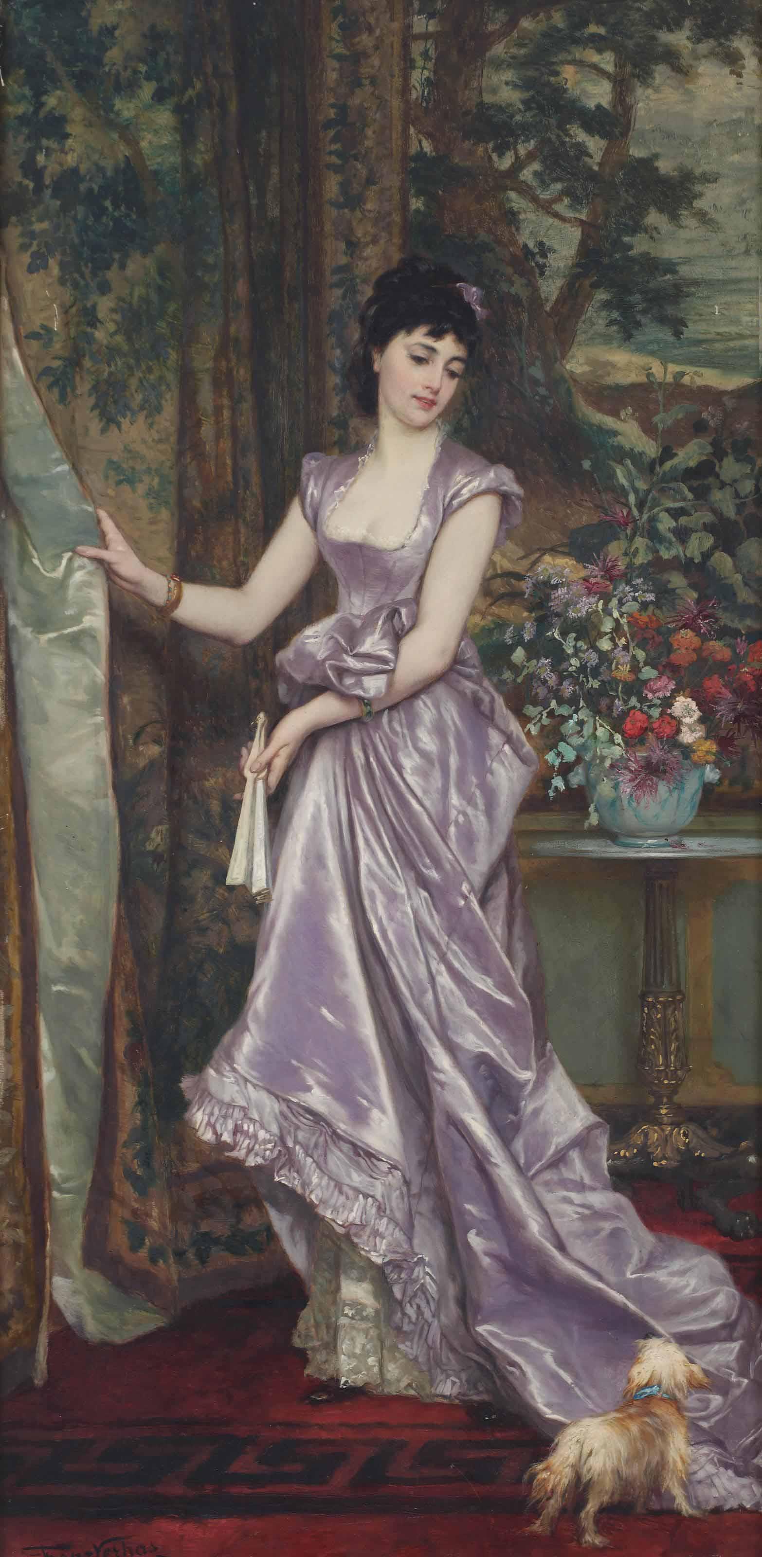 An elegant lady in purple