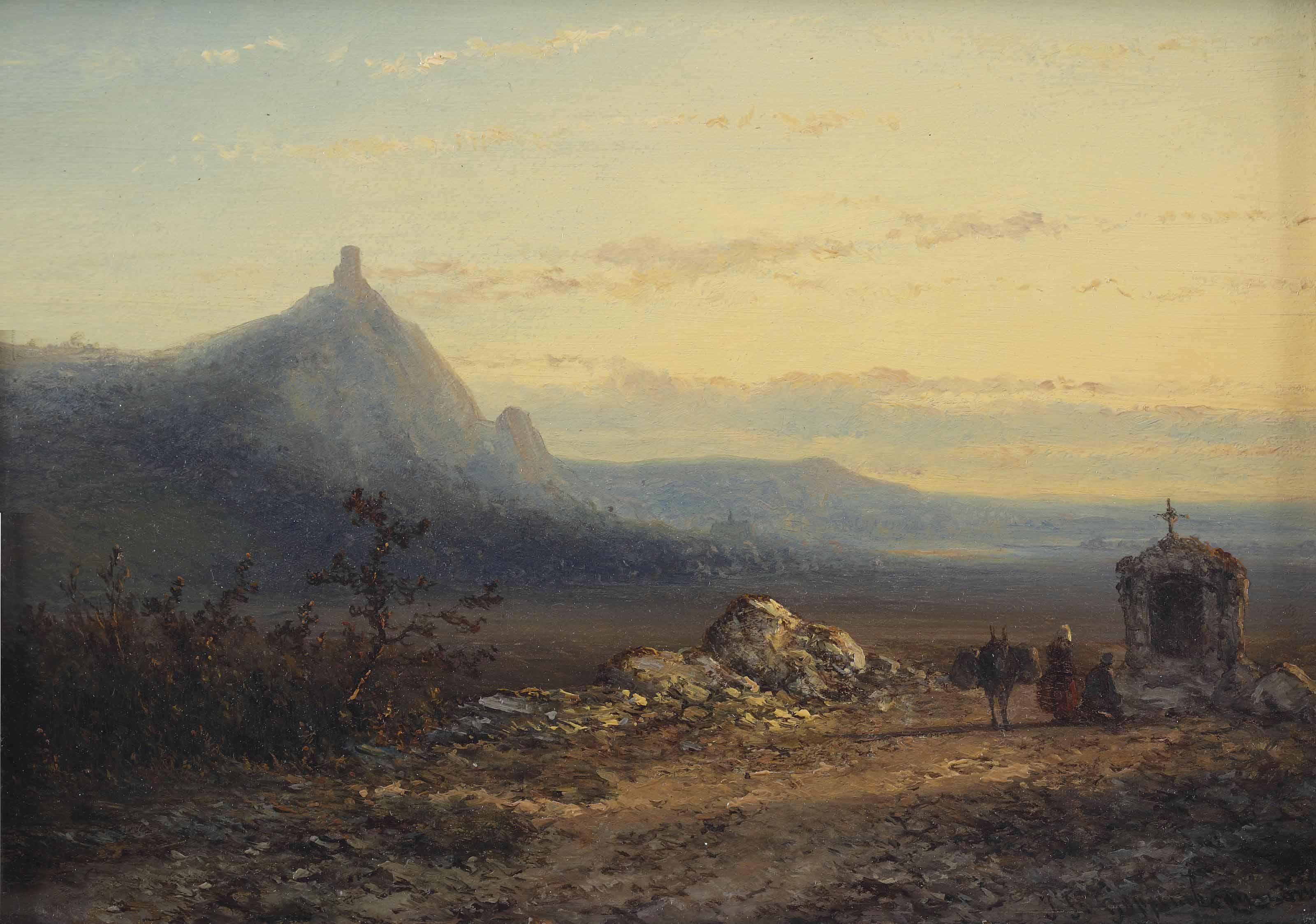 Pilgrims near a little chapel