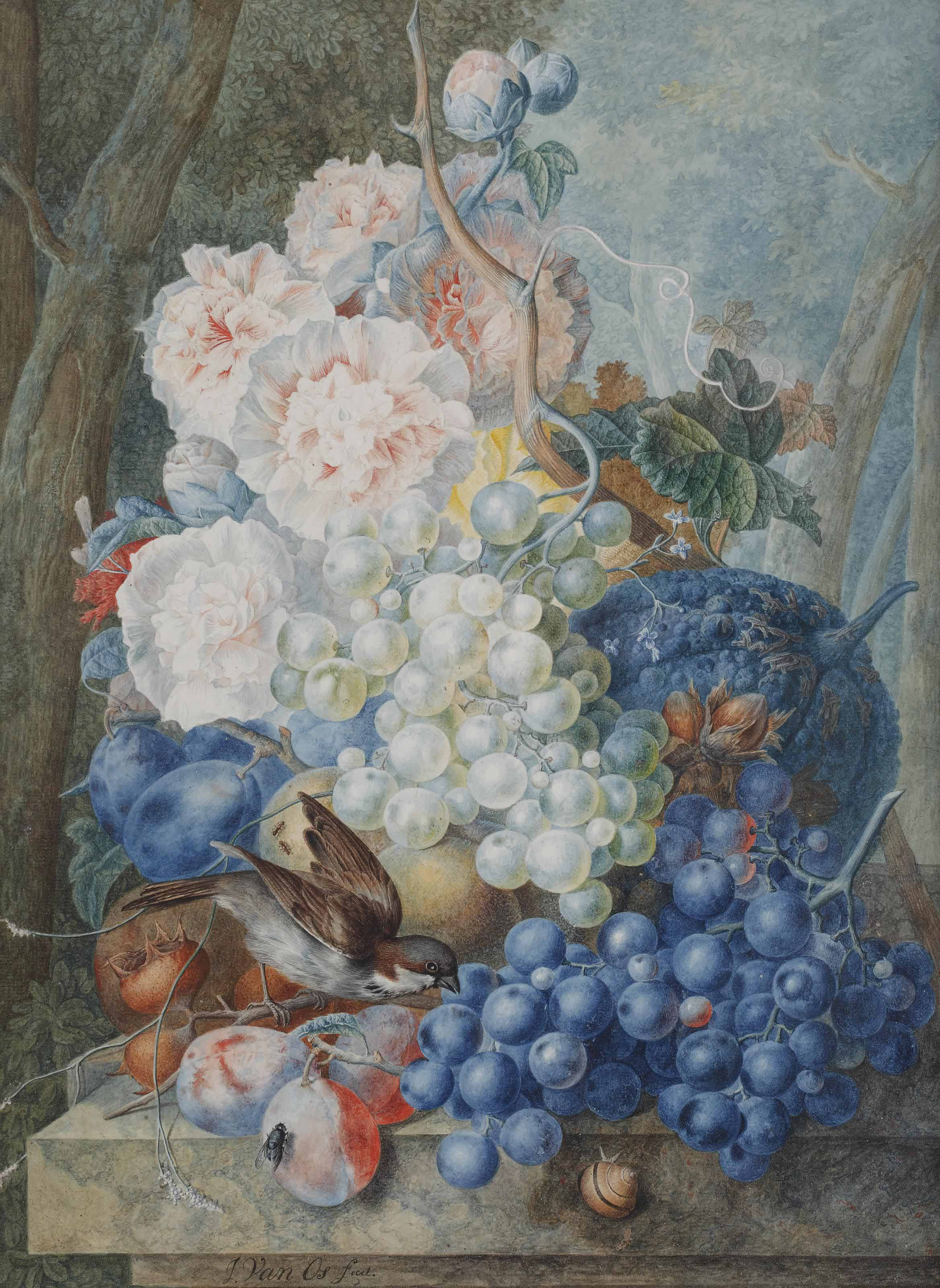 A bouquet of peonies with grapes, prunes, and a sparrow in a garden landscape
