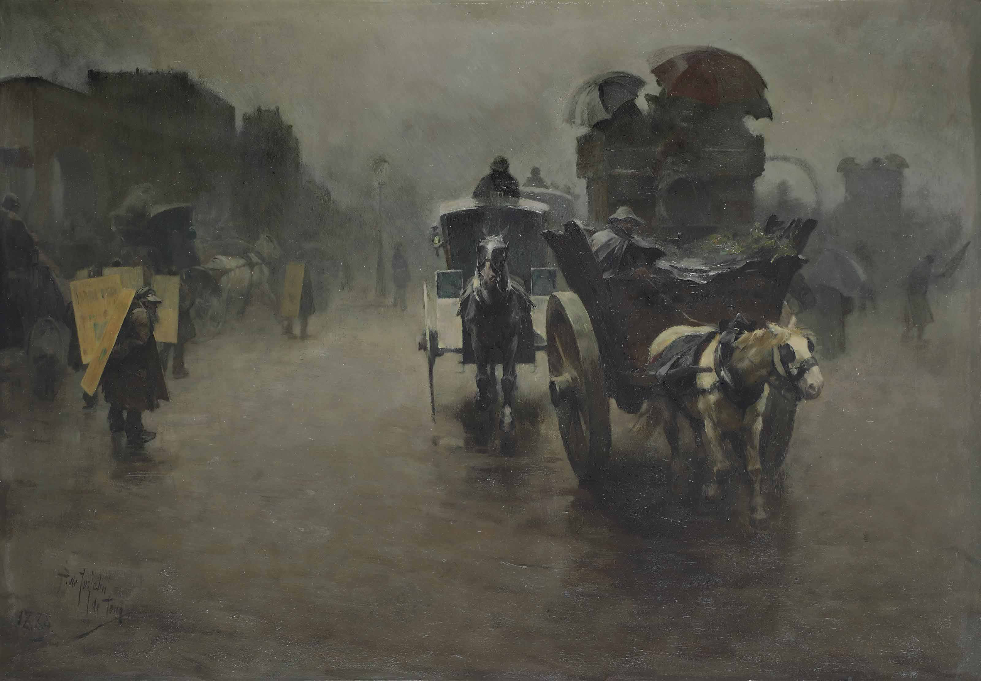 London: carriages in the mist, London