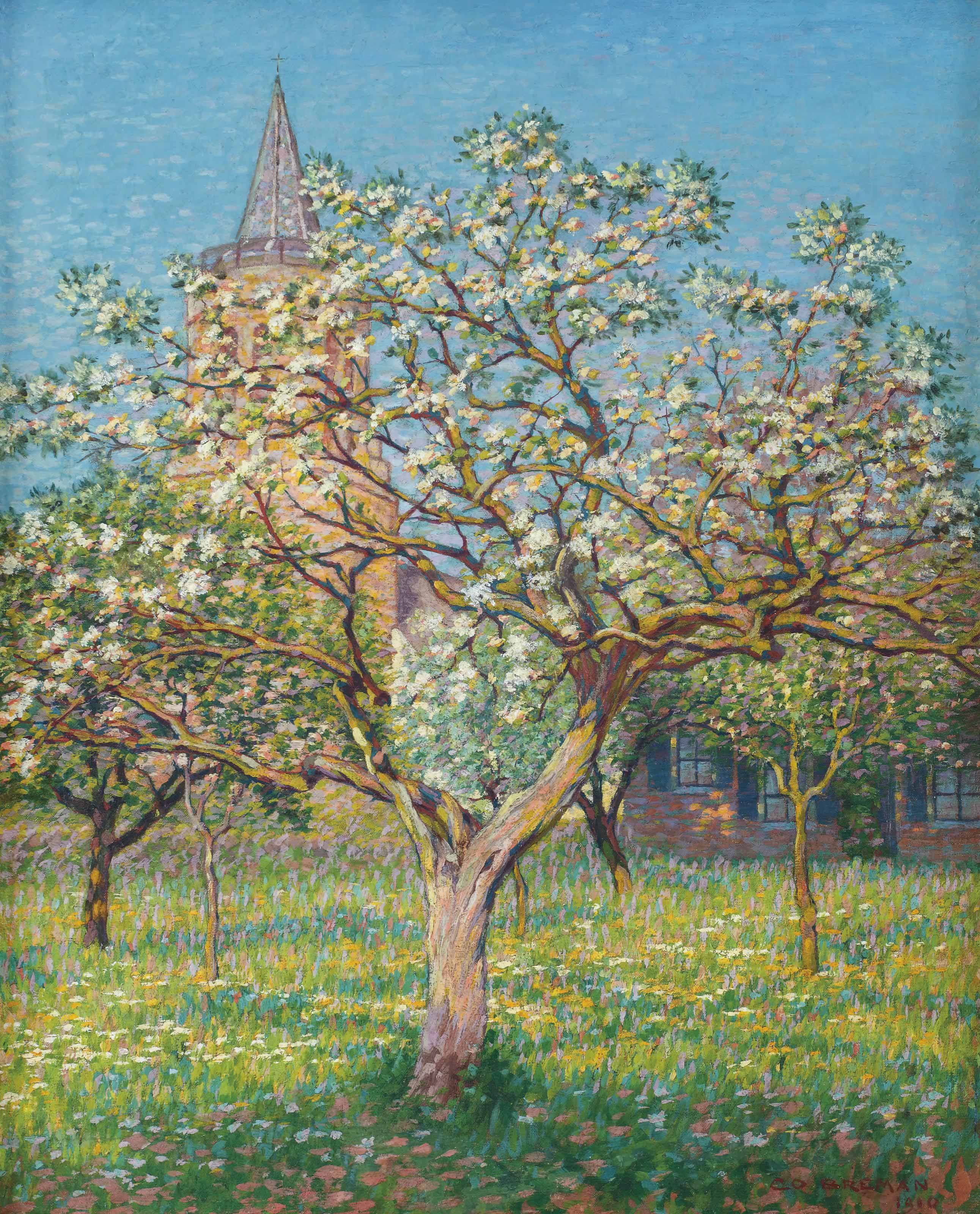 Blossoming tree with the church of Laren in the distance