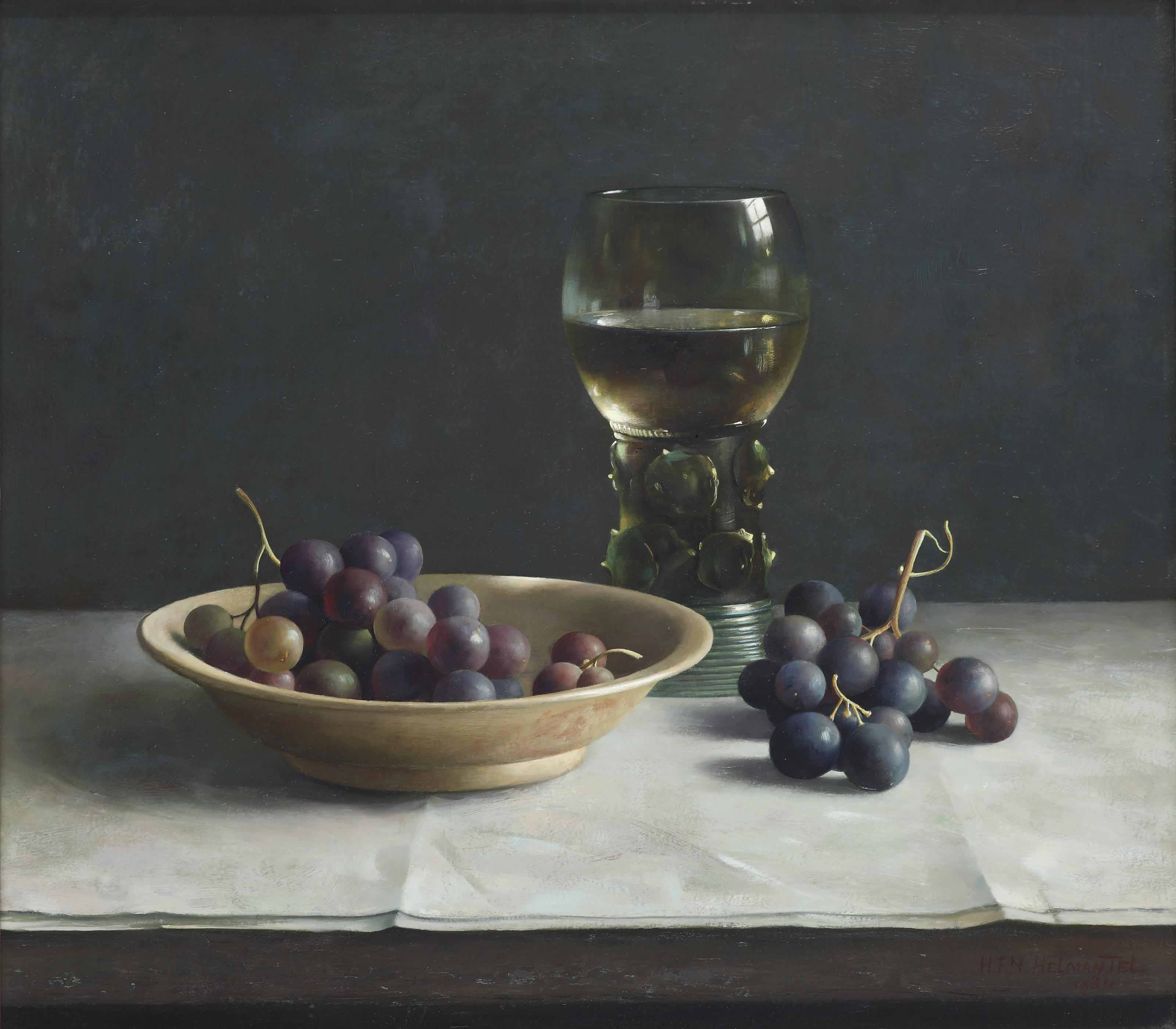 A still life with grapes and a roemer