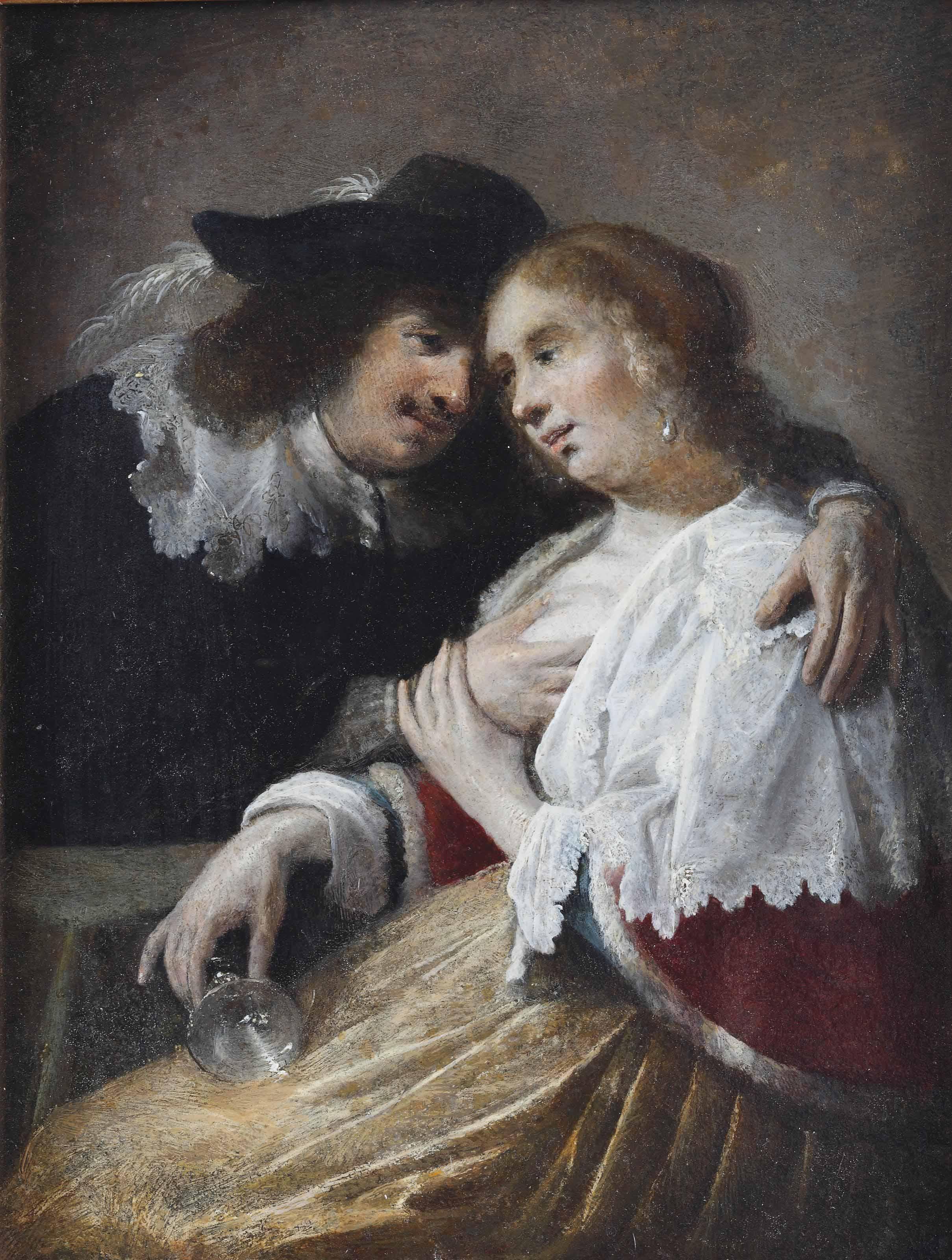 The Effects of Intemperance; a man embracing a drunken woman