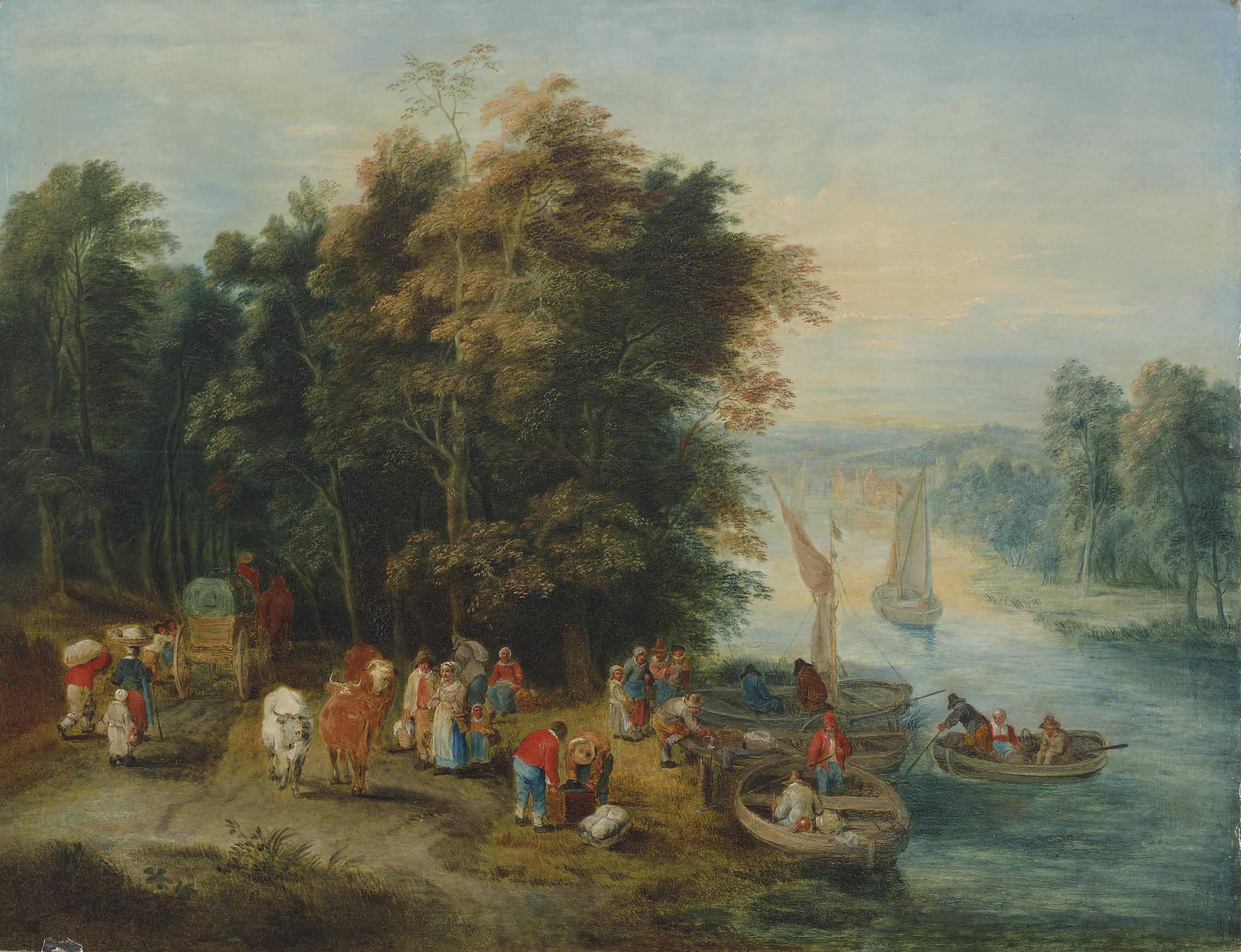A wooded river landscape with travellers on a river bank and figures in boats