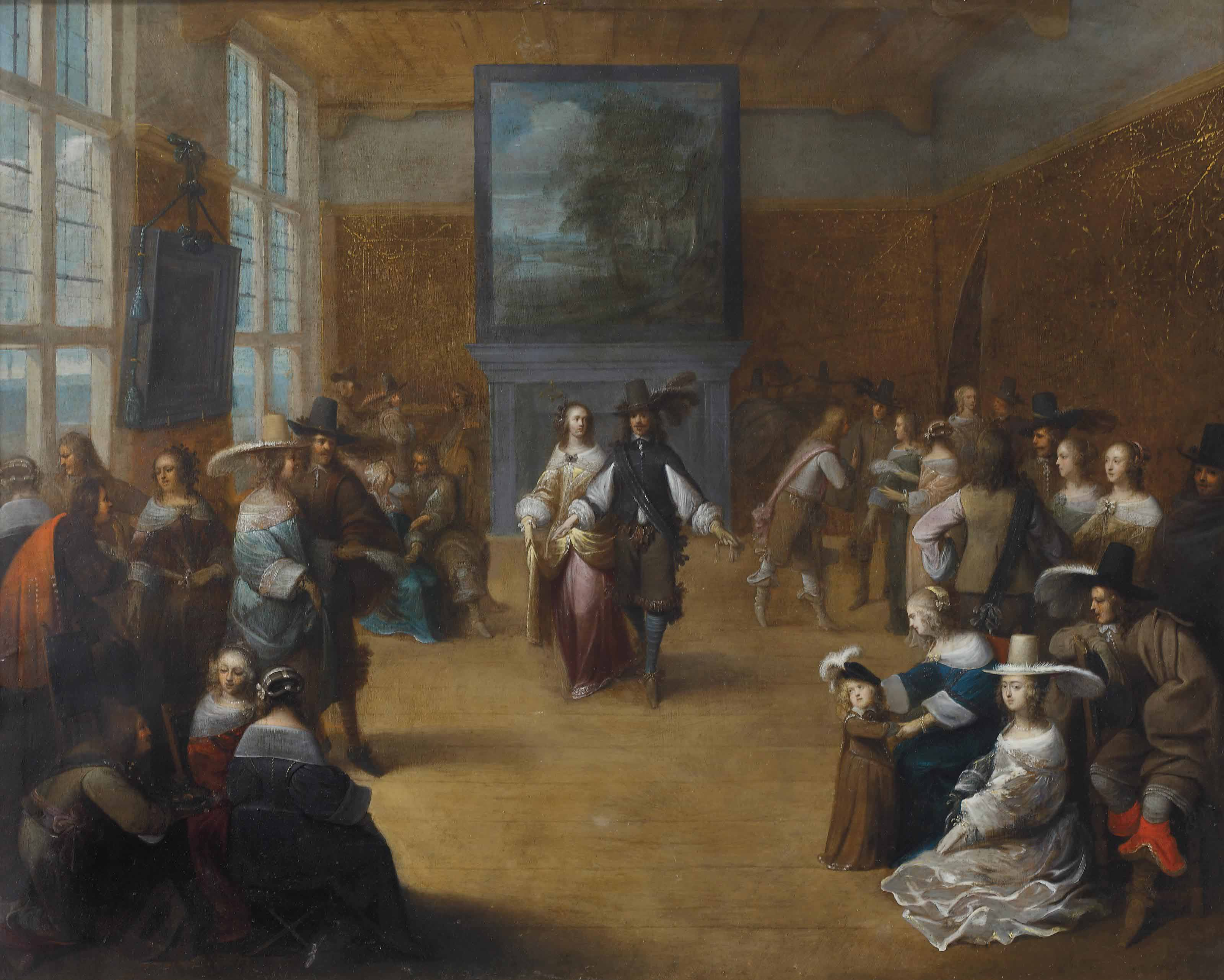 An elegant party in a palace interior with figures conversing and dancing