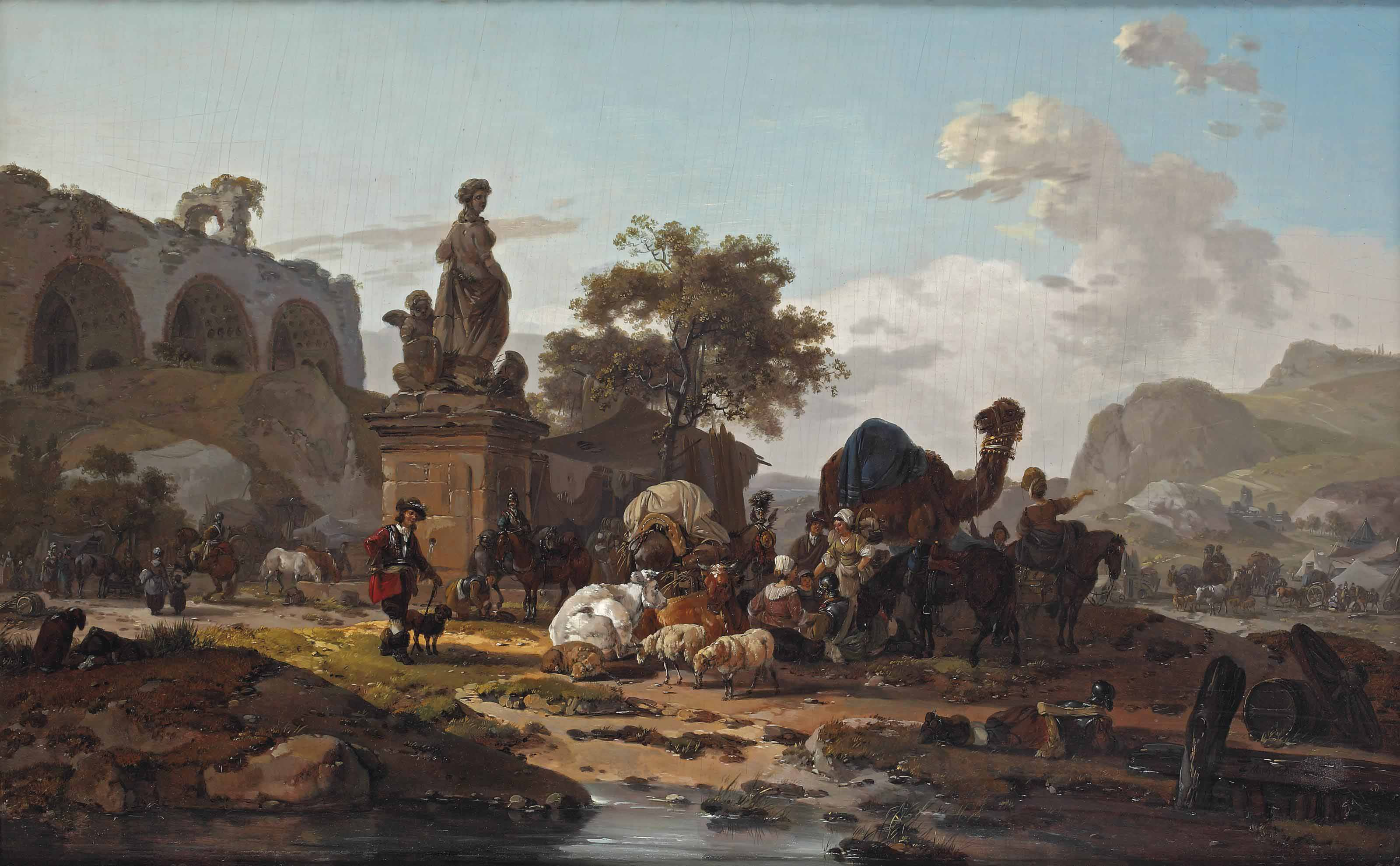 An Italianate landscape with a caravan of cattle, sheep, a camel and travellers, near a ruin