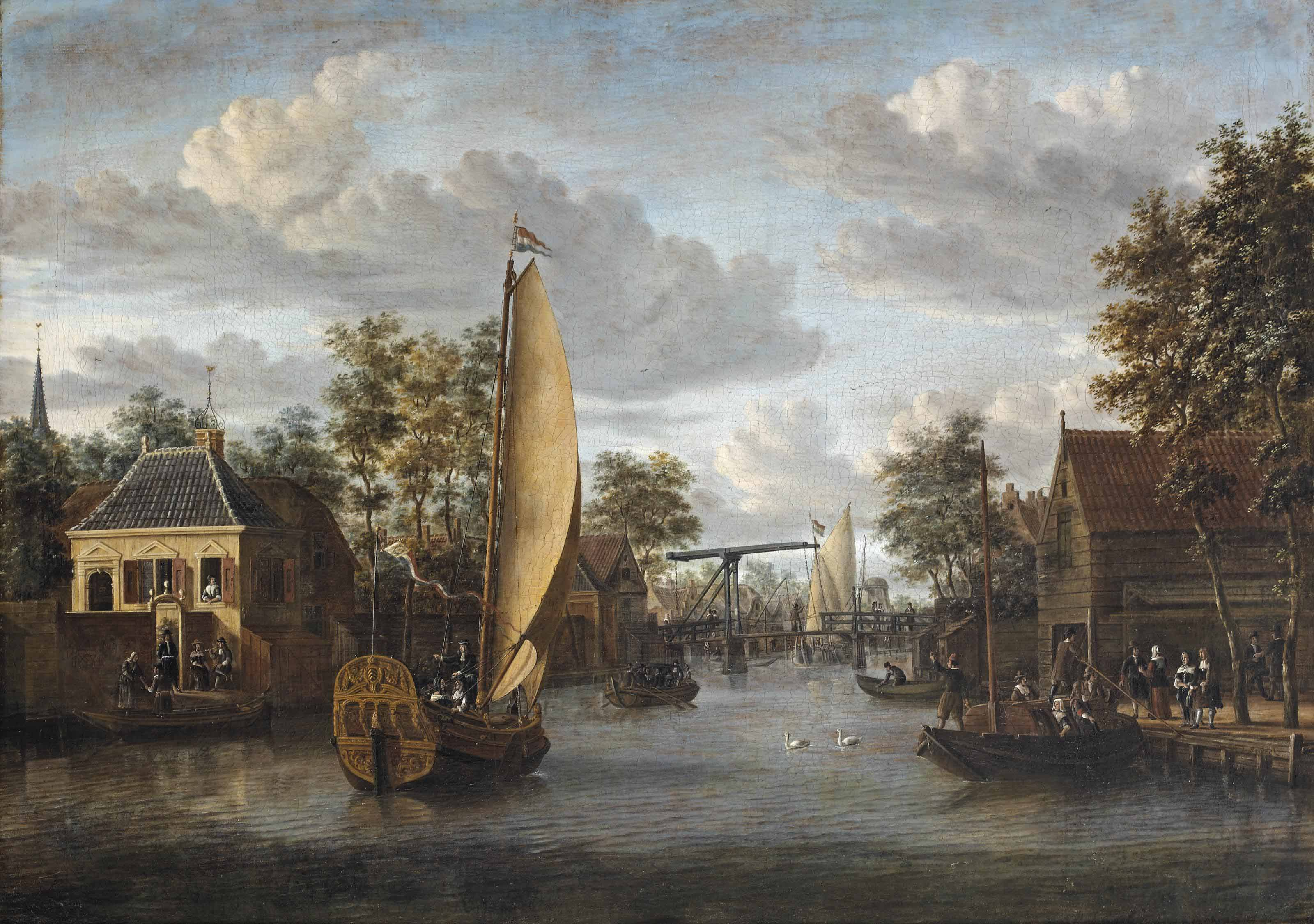 A view of the river Oude Rijn in Alphen aan den Rijn, with an elegant company in a yacht and other figures strolling along the river and on boats
